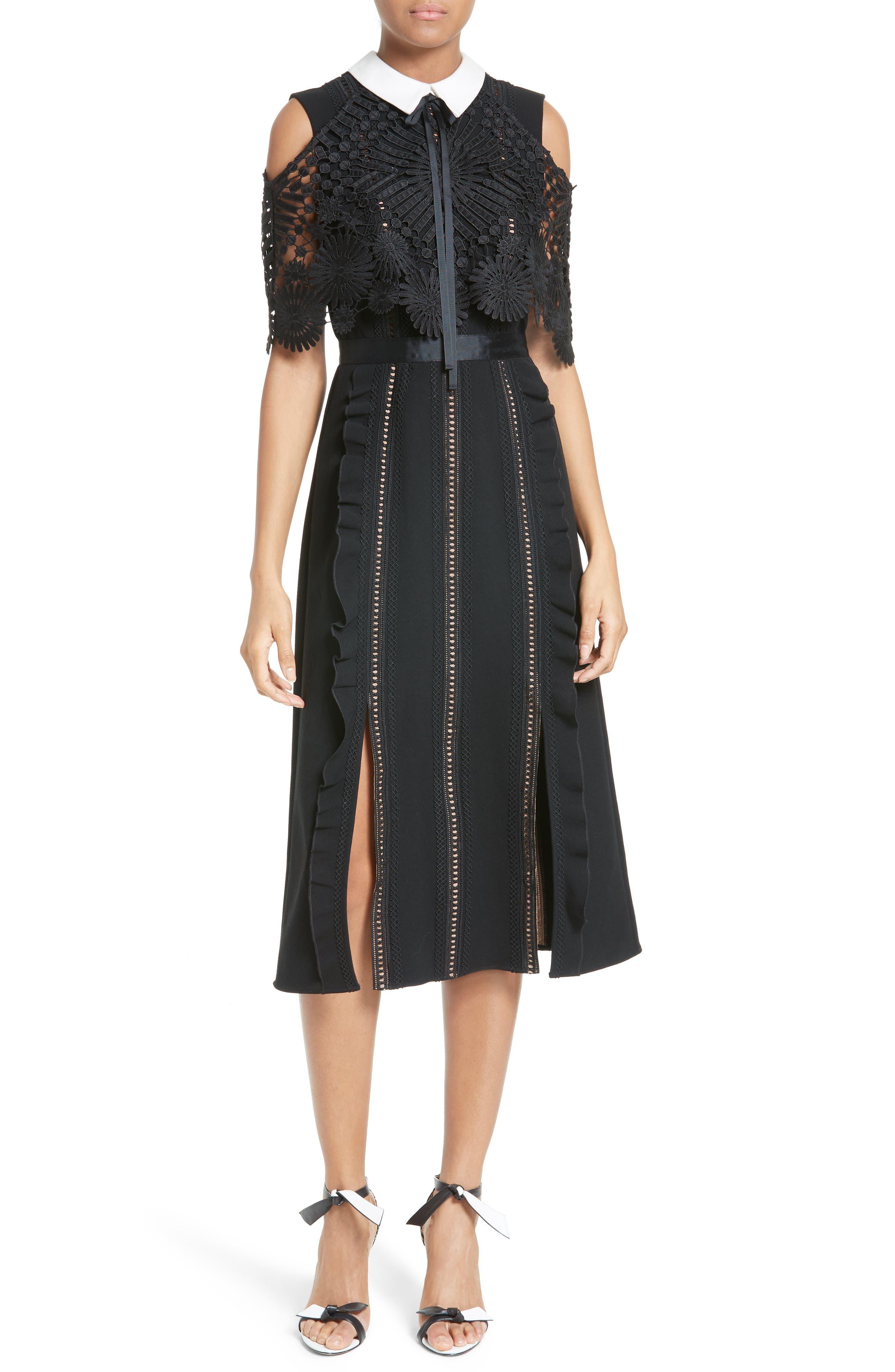 Main Image - Self-Portrait Hinkley Cold Shoulder Midi Dress