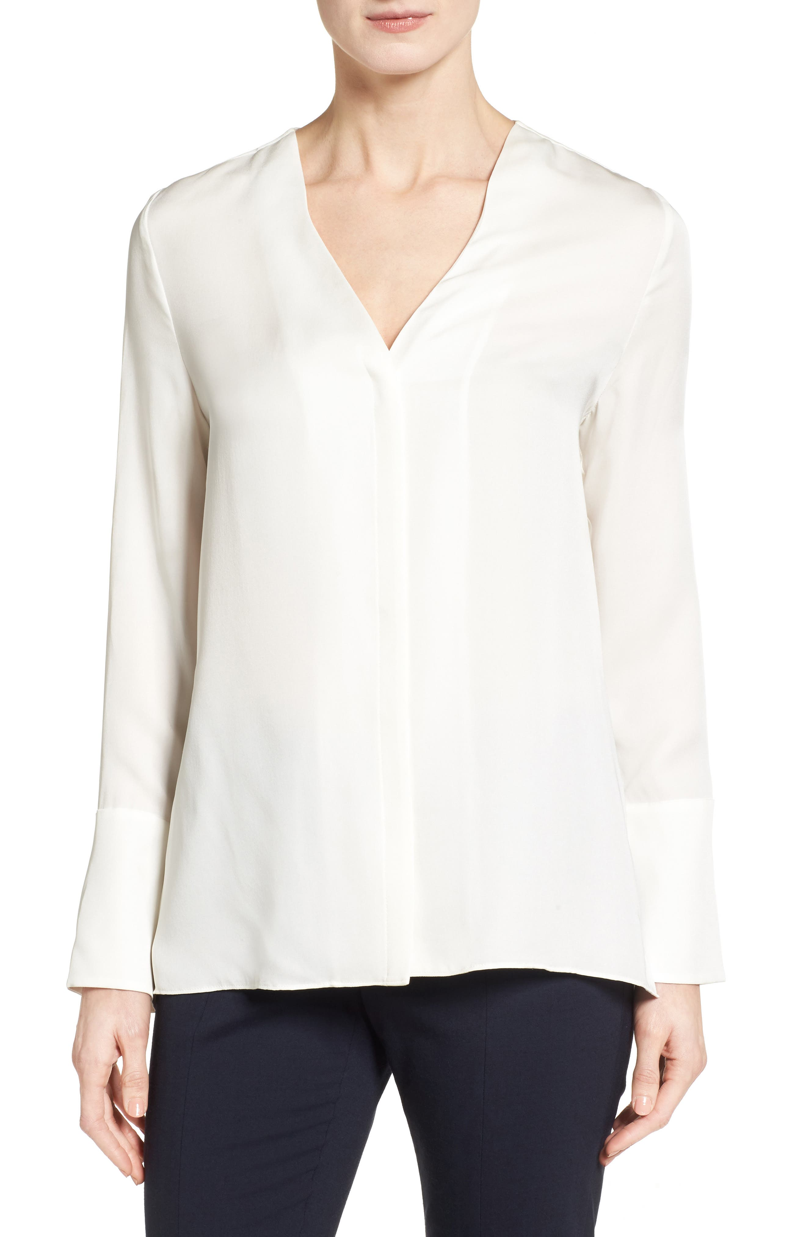 Classiques Entier® Exaggerated Cuff Silk Blouse