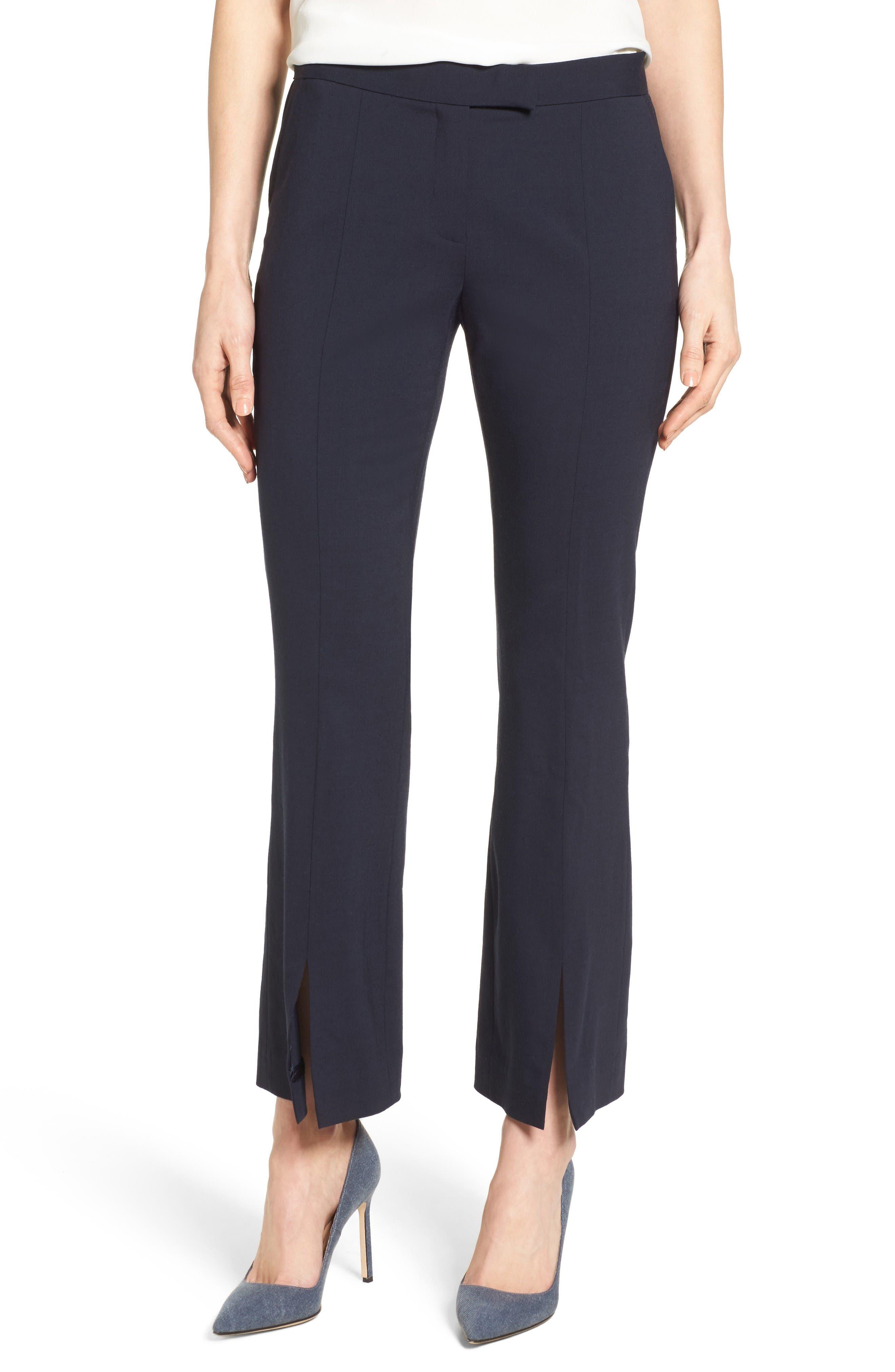 Classiques Entier® Slit Front Wool Blend Flare Leg Pants