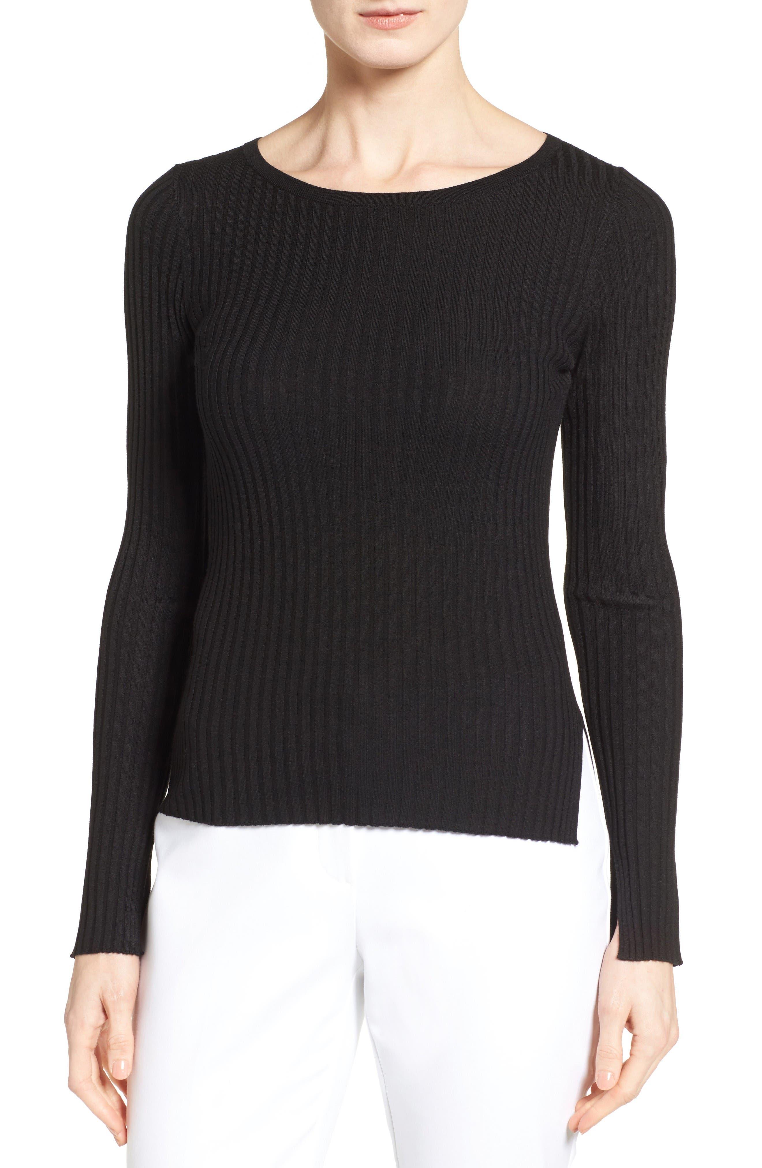 Classiques Entier® Slit Cuff Merino Wool & Silk Pullover