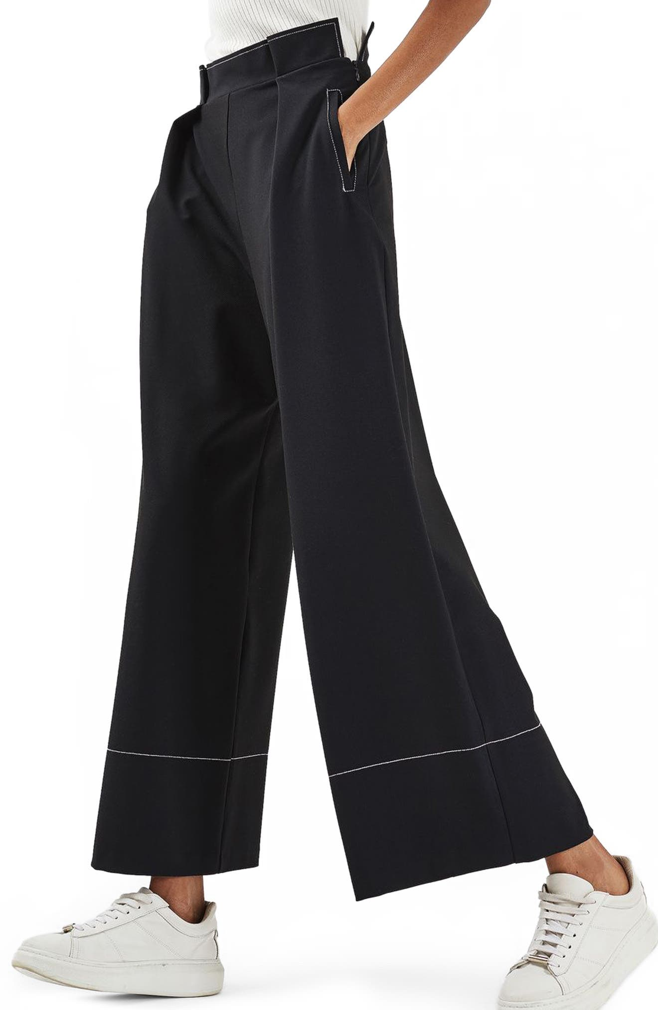 Alternate Image 1 Selected - Topshop Stitched Wide Leg Trousers