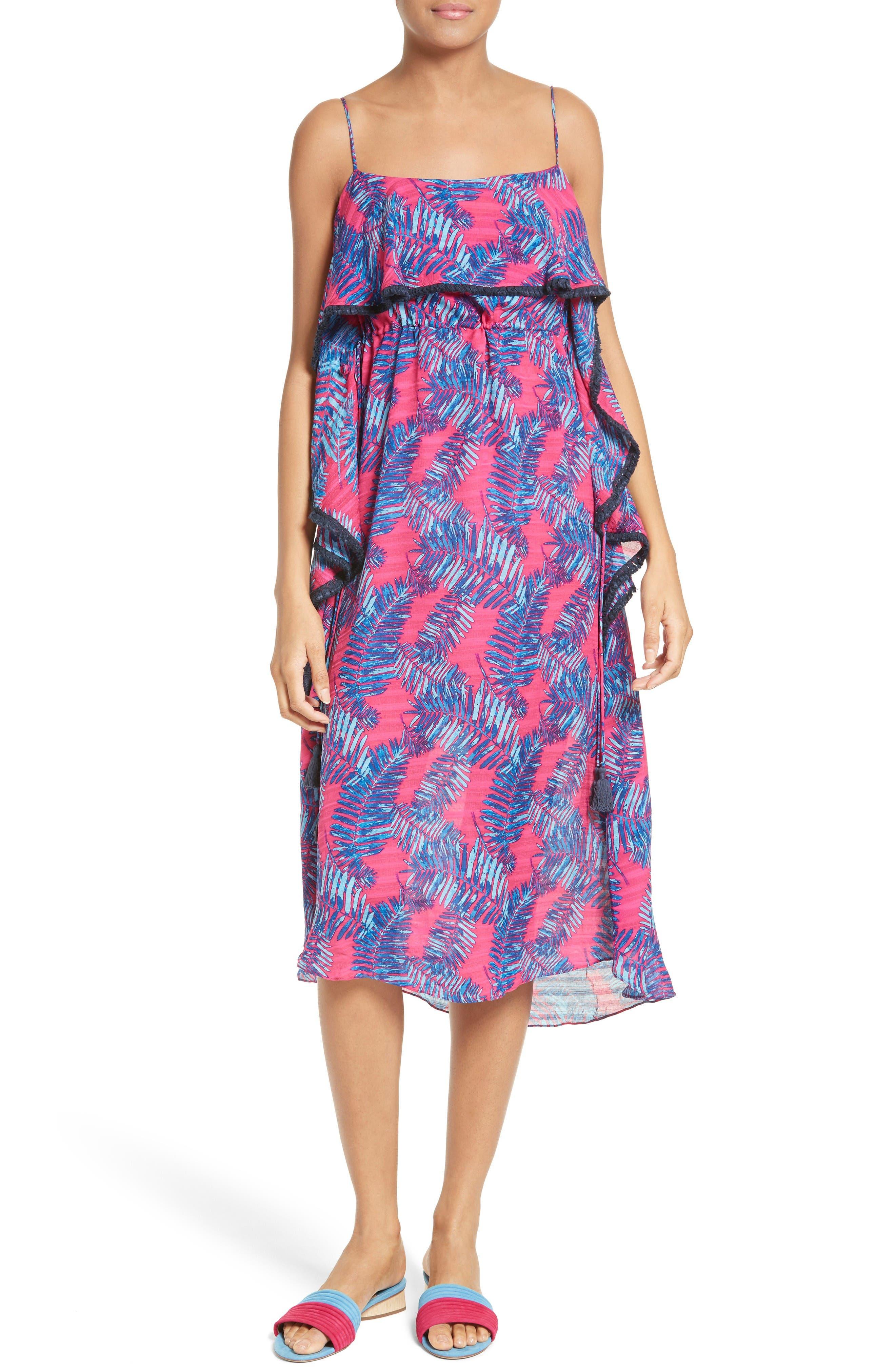 Tanya Taylor Josefina Palm Print Silk Dress