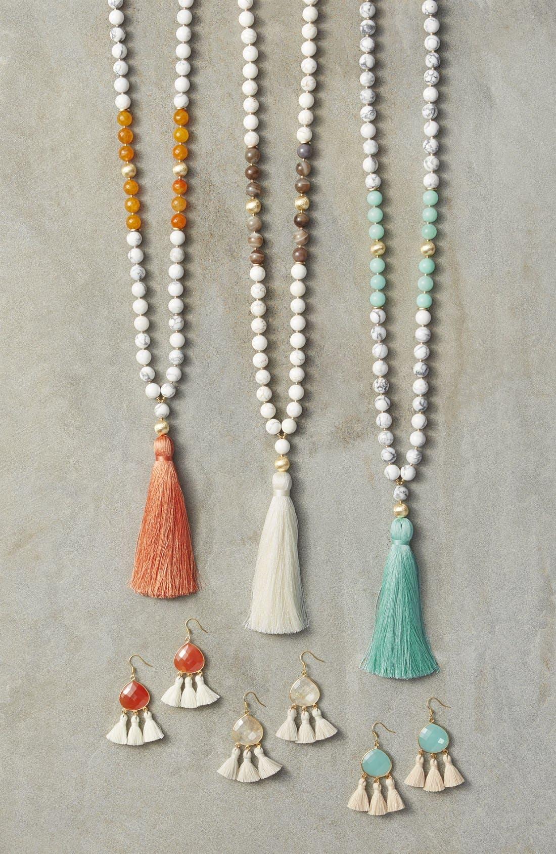 Alternate Image 3  - Love's Affect Lacey Semiprecious Stone Tassel Earrings