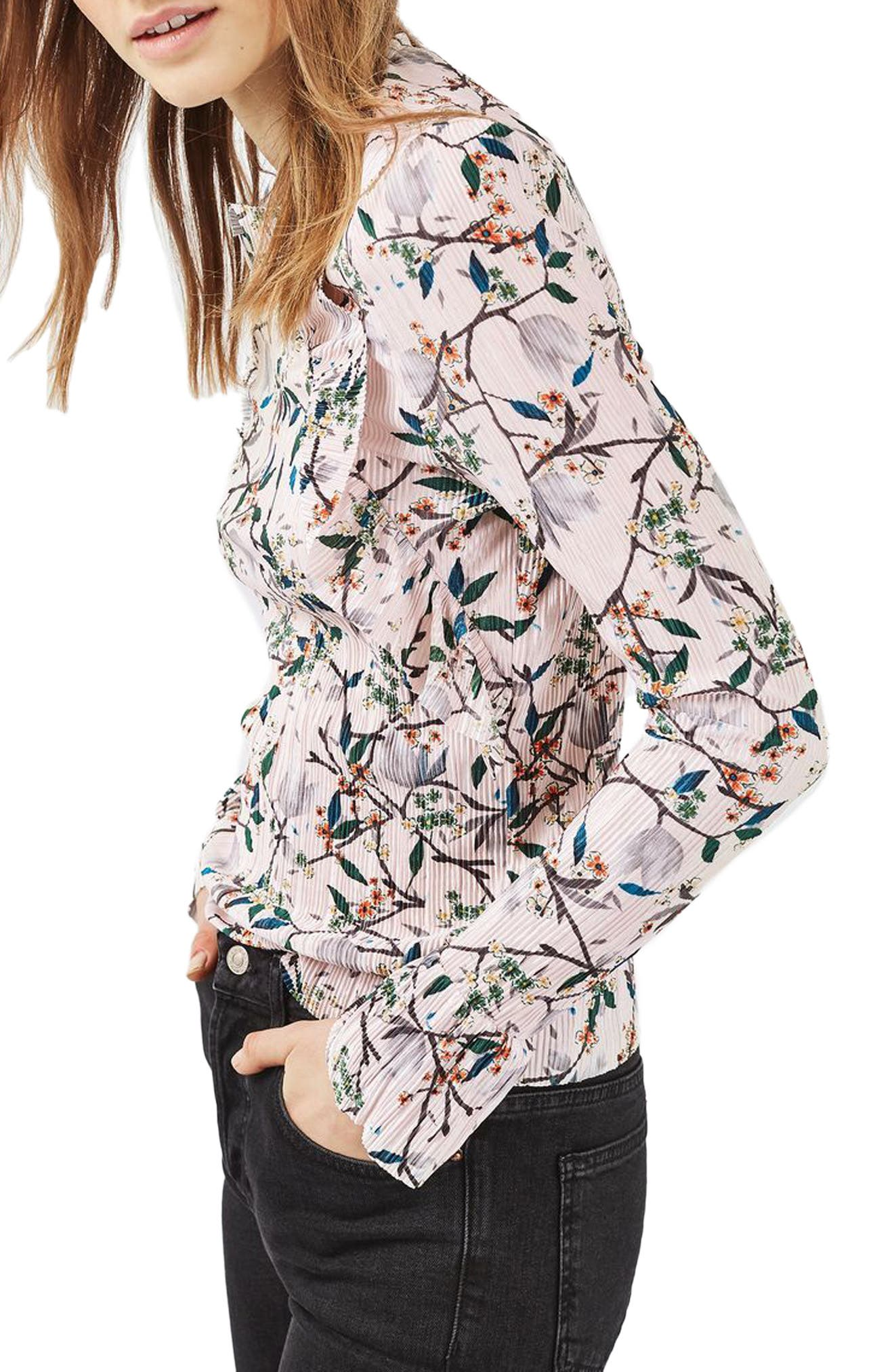 Alternate Image 1 Selected - Topshop Print Ruffle Plissé Top