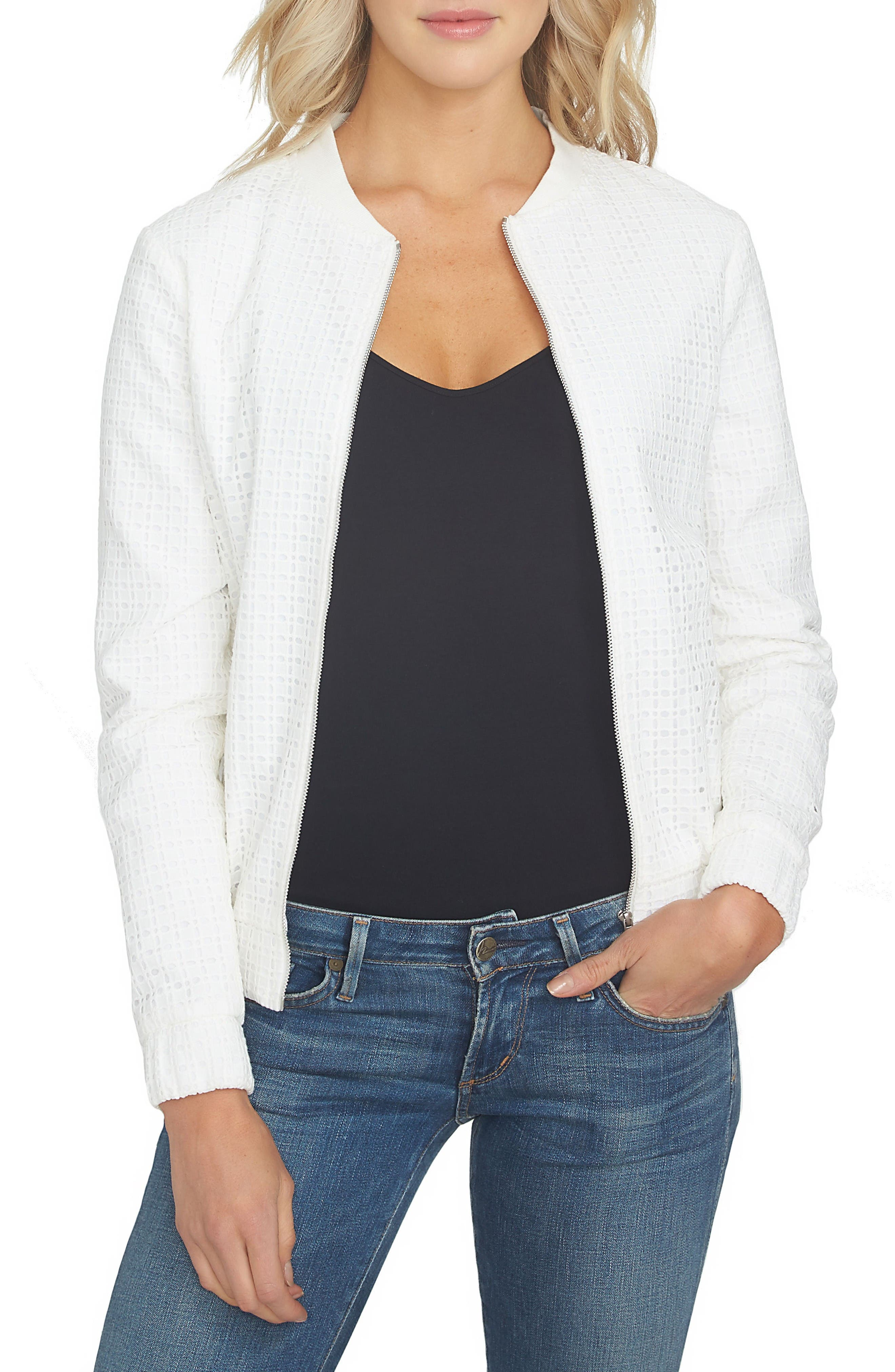 1.STATE Eyelet Cotton Bomber Jacket