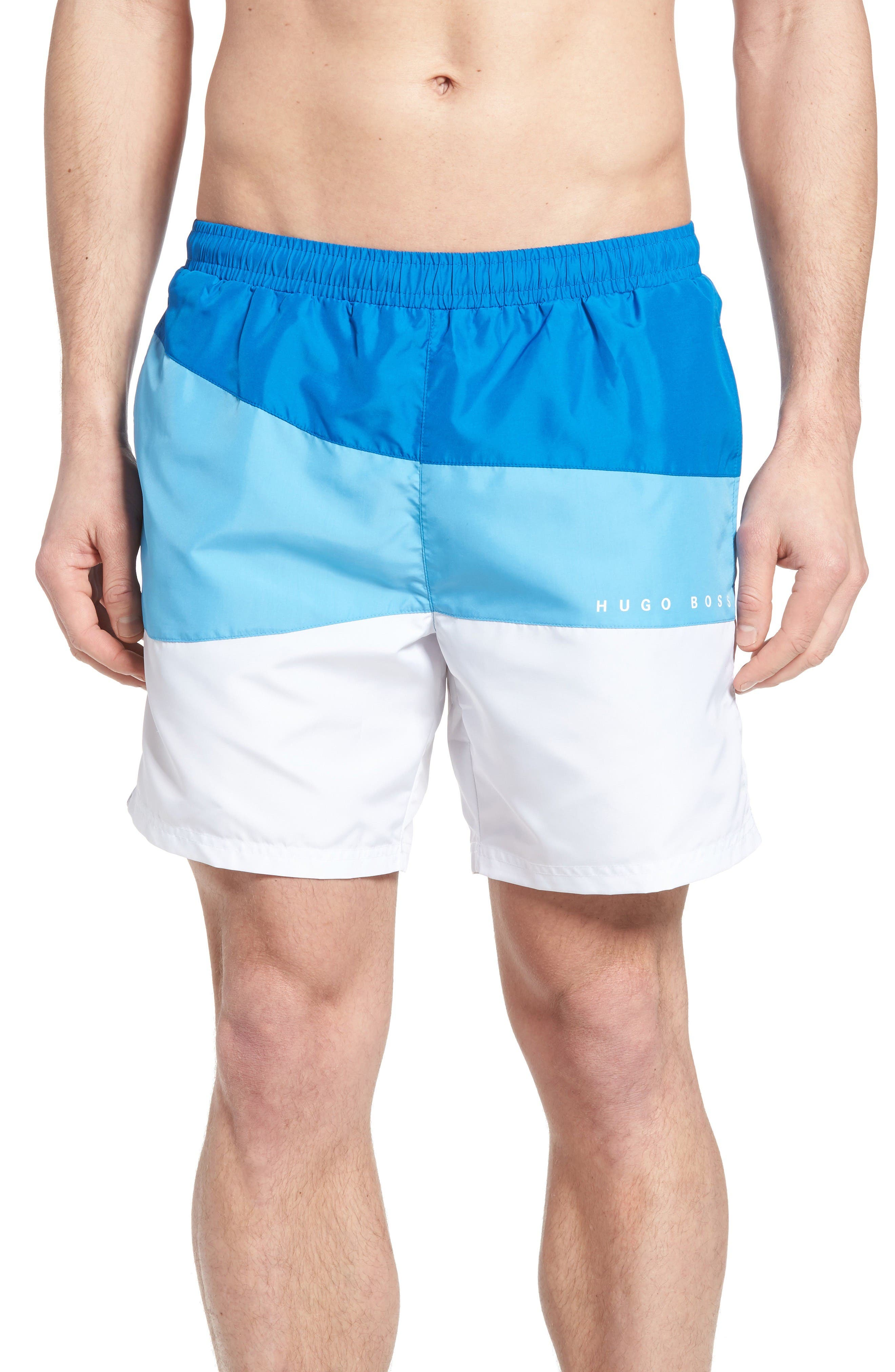 BOSS Butterfly Fish Colorblock Swim Trunks