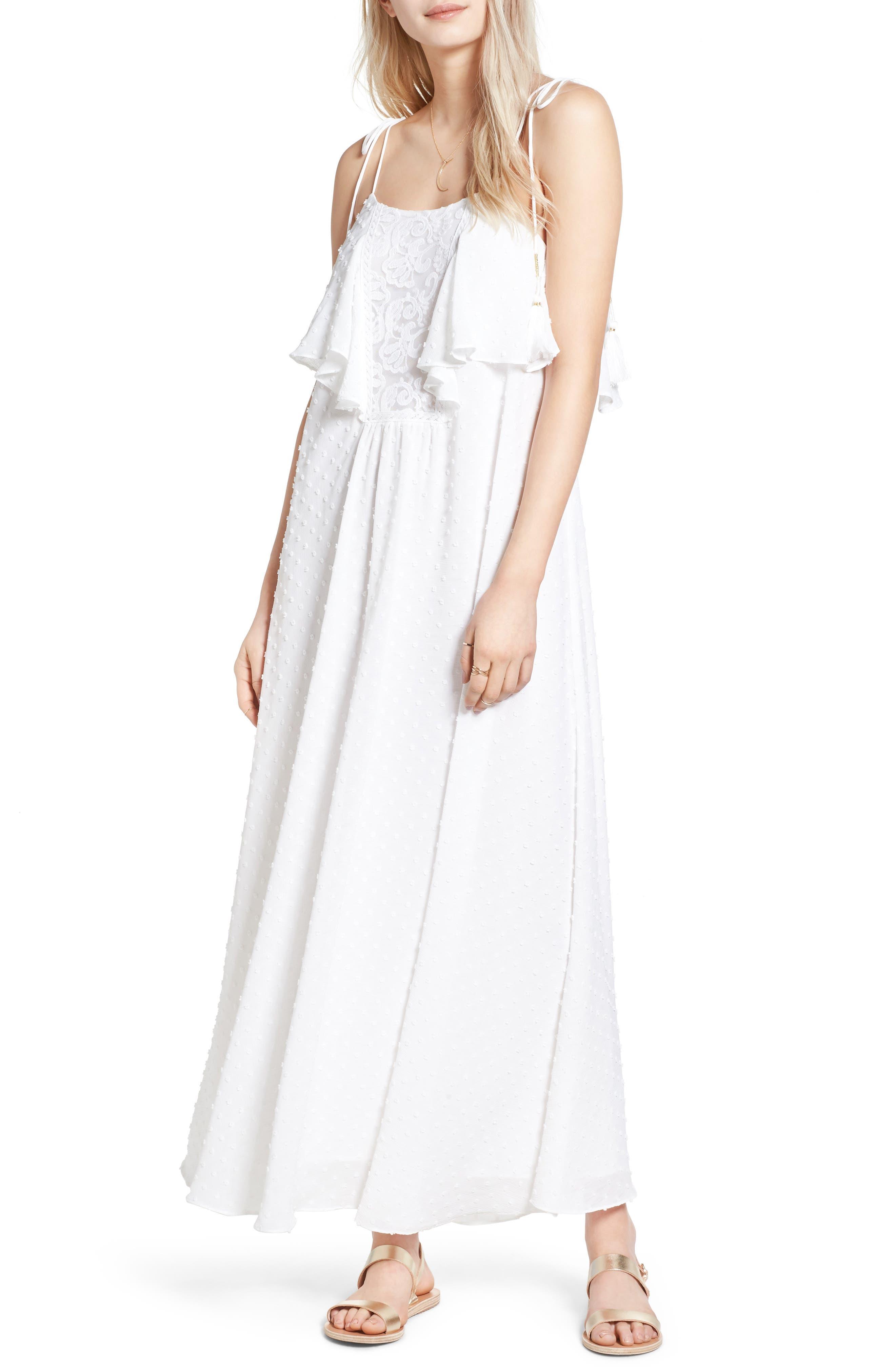 Alternate Image 1 Selected - MOON RIVER Swiss Dot Maxi Dress