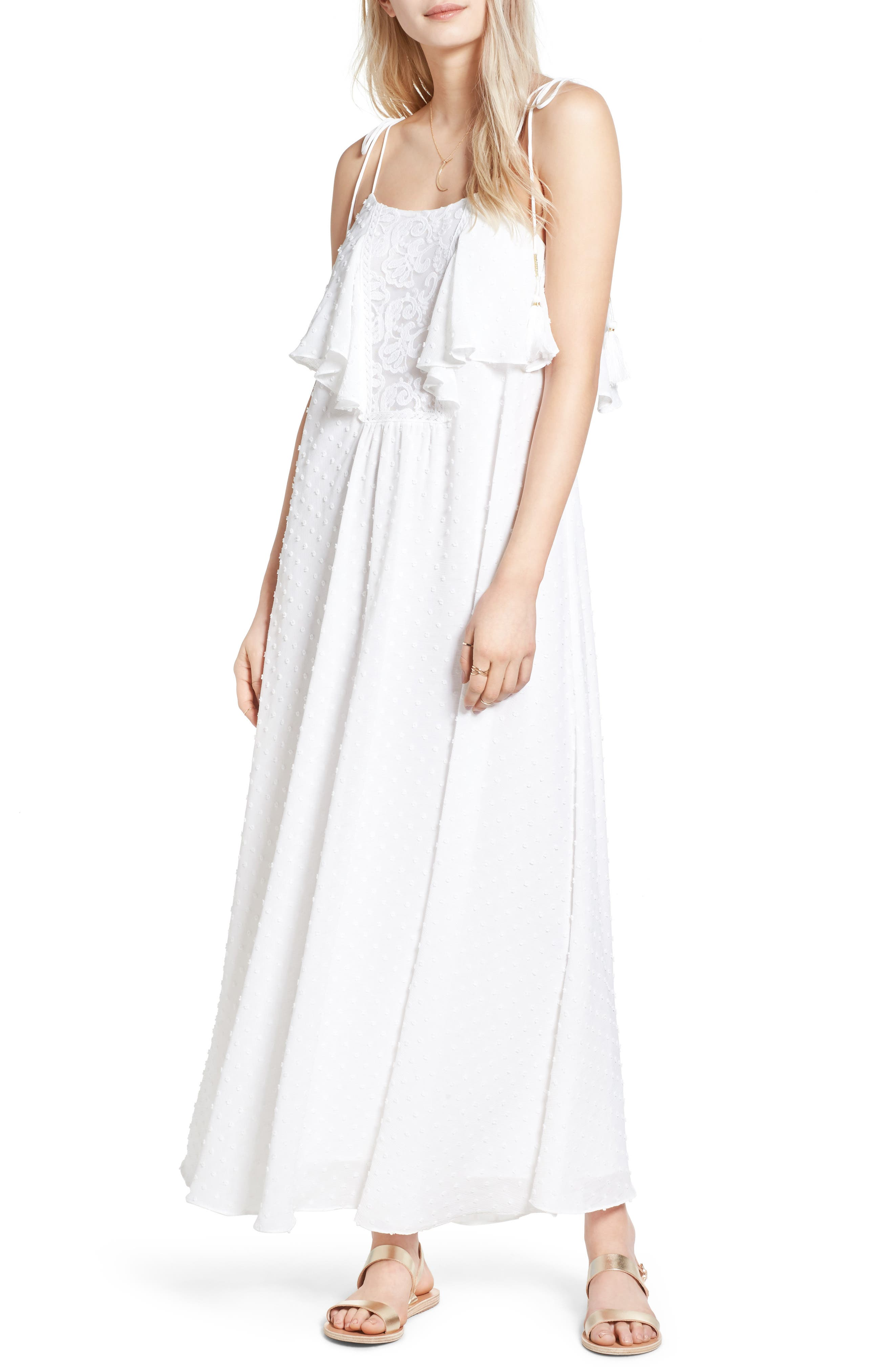 Main Image - MOON RIVER Swiss Dot Maxi Dress