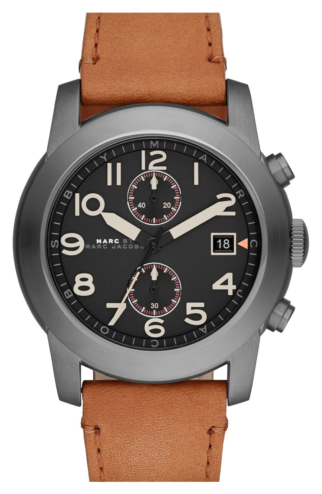 Main Image - MARC BY MARC JACOBS 'Larry' Chronograph Leather Strap Watch, 46mm