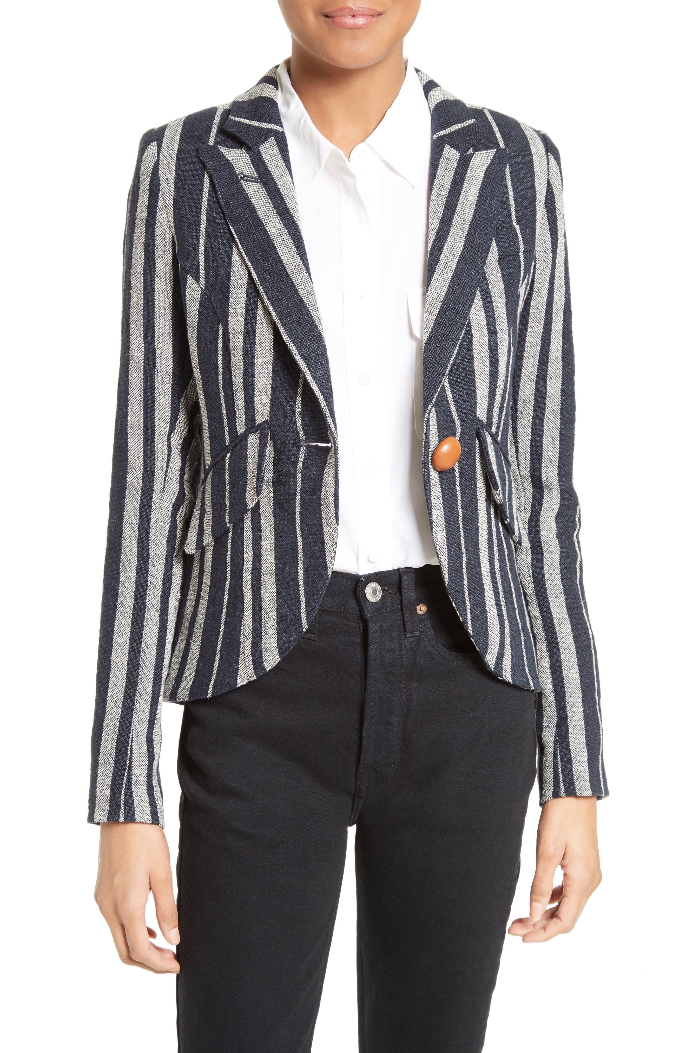 Smythe Stripe Linen Blazer