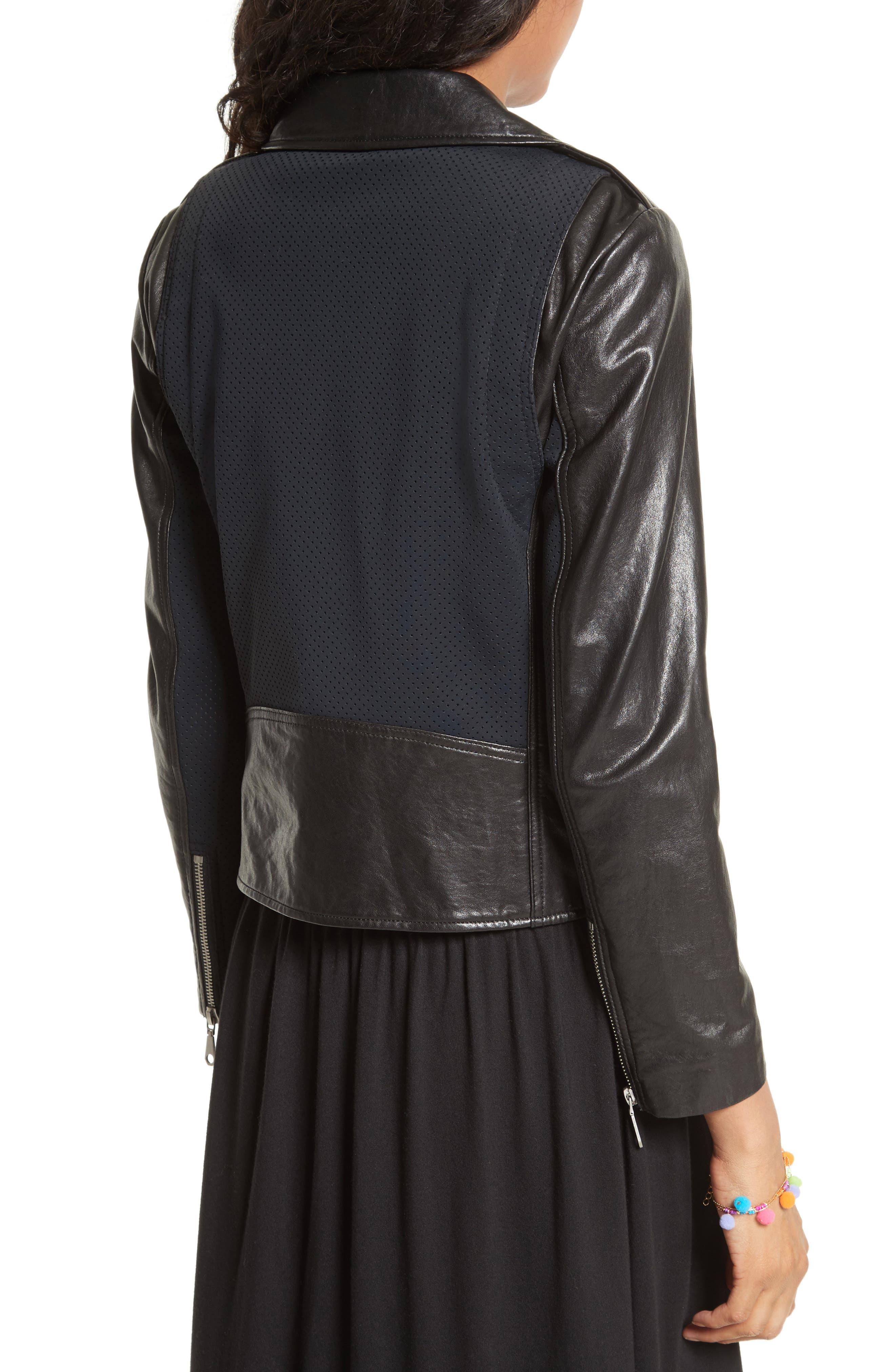 Alternate Image 3  - Rebecca Minkoff Wes Moto Leather & Neoprene Jacket