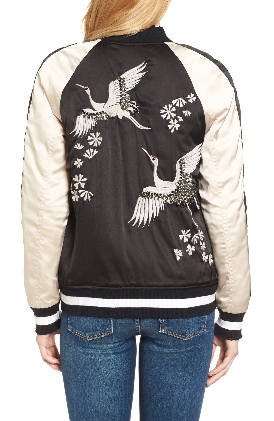 Alternate Image 2  - Pam & Gela Embellished Satin Bomber Jacket
