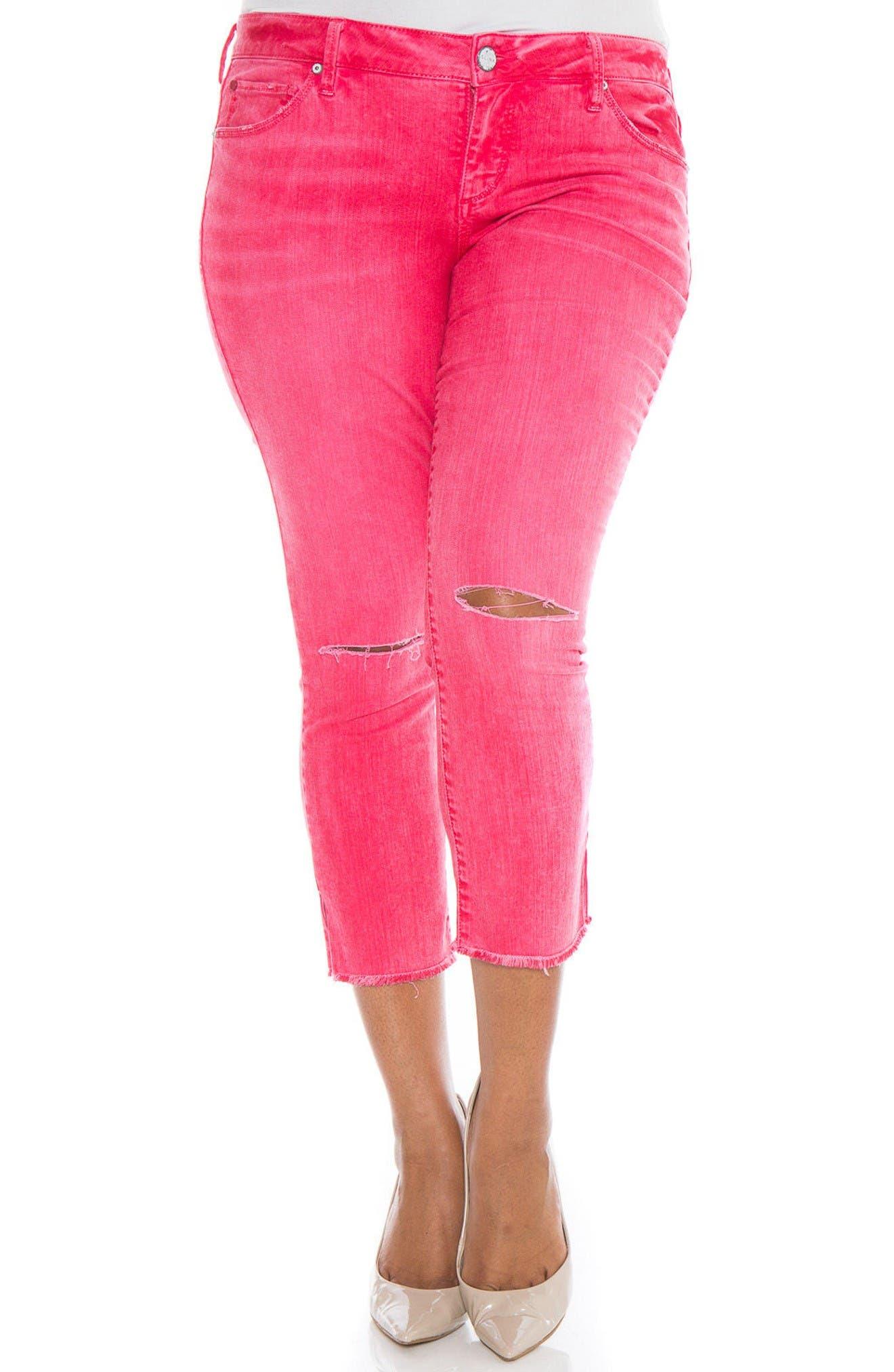SLINK Jeans Fray Hem Ripped Crop Skinny Jeans (Plus Size)