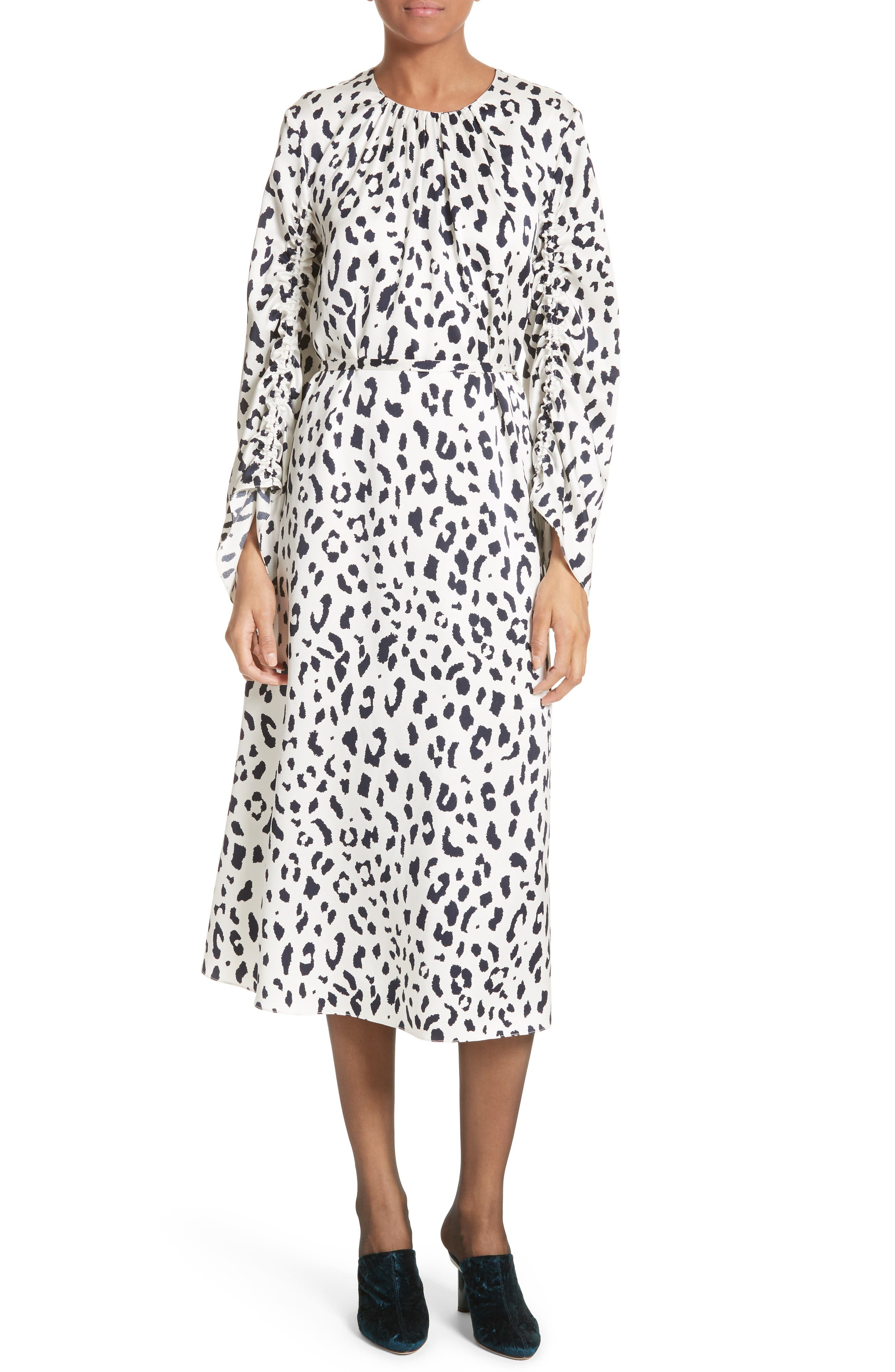 Tibi Cheetah Satin Dress