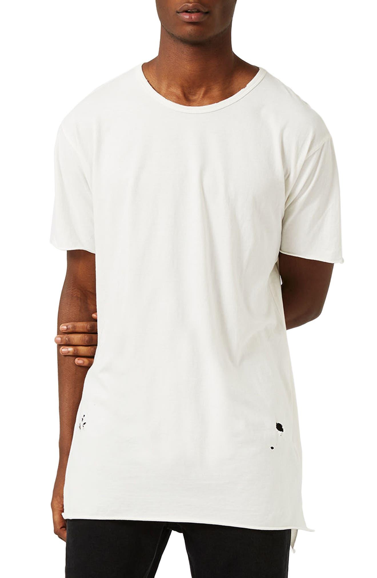 Topman Distressed Longline T-Shirt