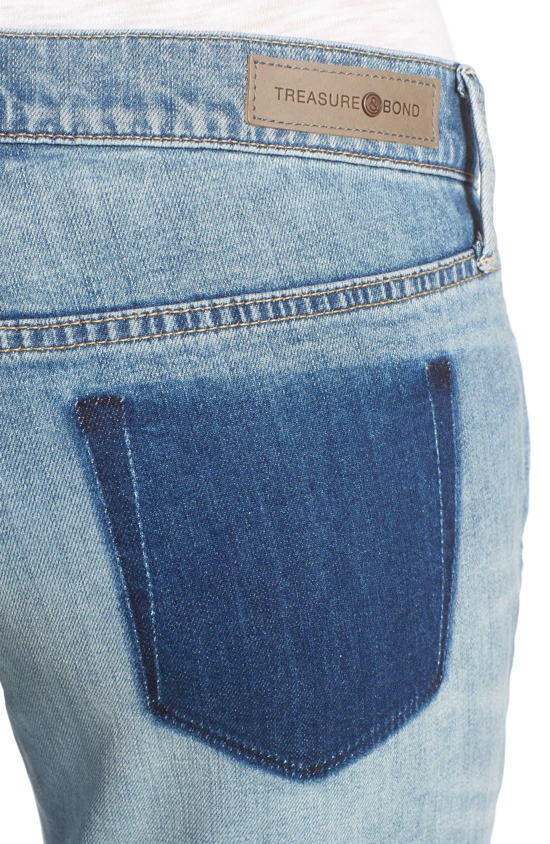 Alternate Image 5  - Treasure & Bond Skinny Boyfriend Jeans (Gravel Medium Remade)
