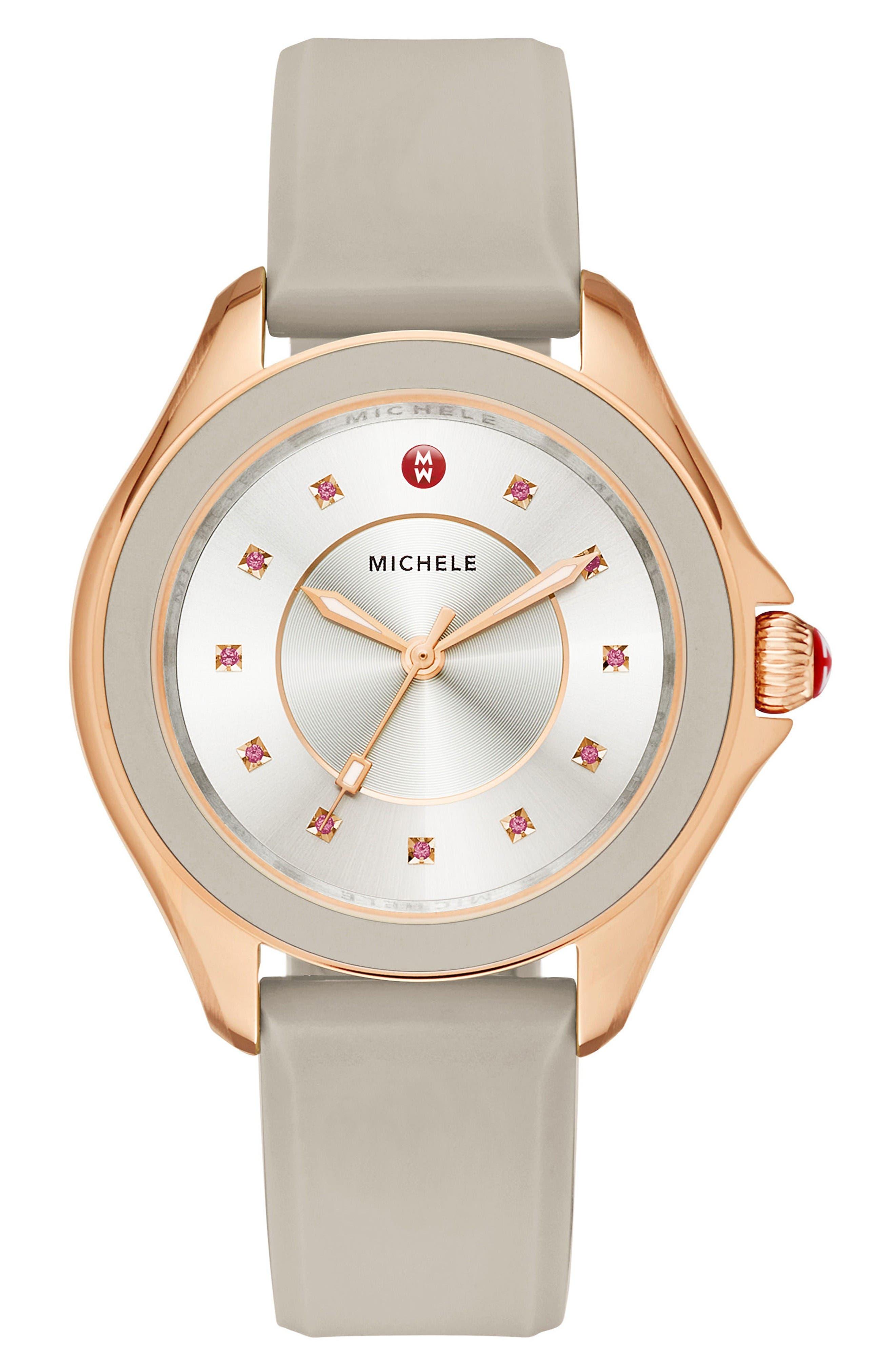 MICHELE Cape Topaz Dial Silicone Strap Watch, 36mm