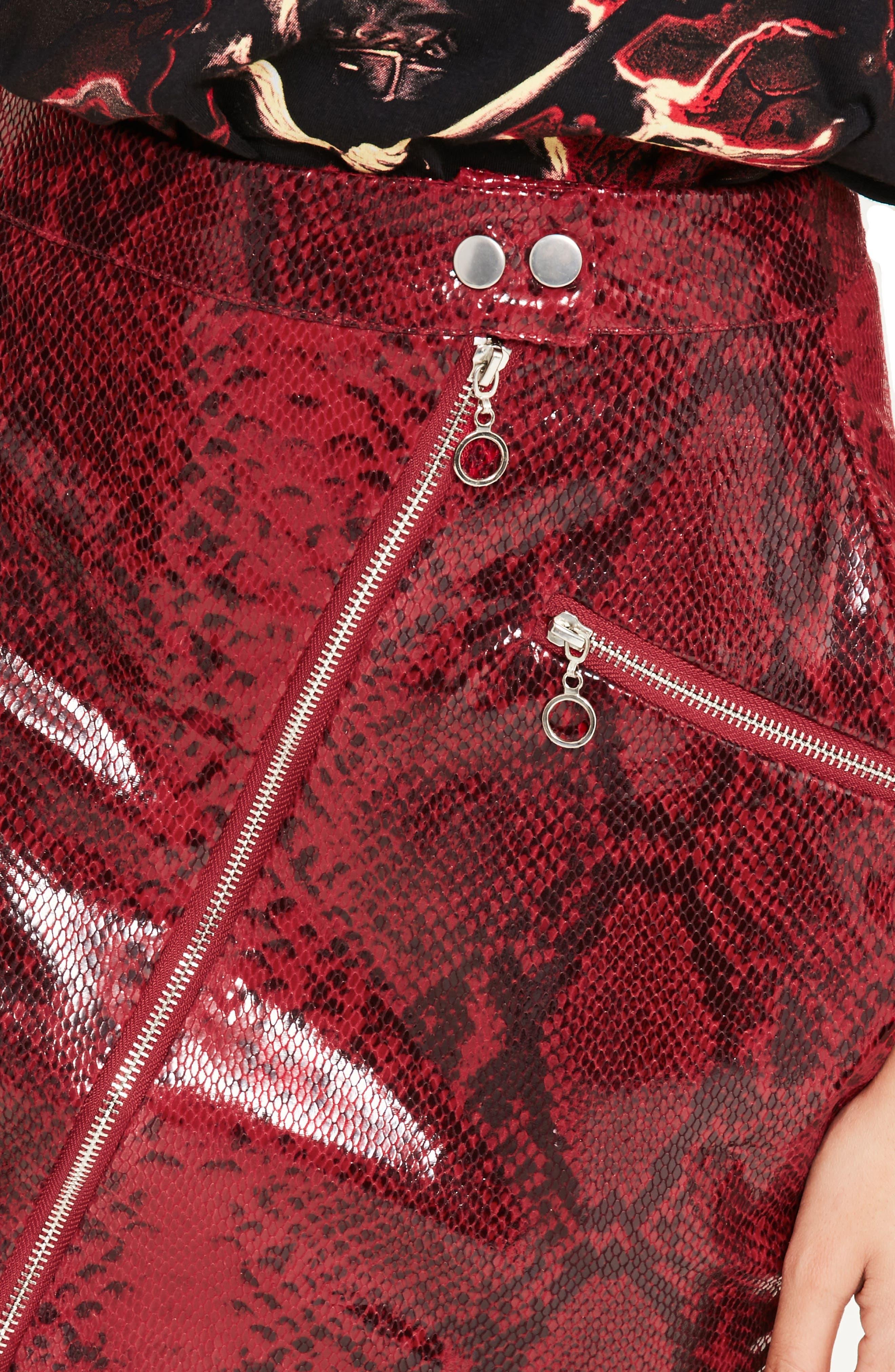 Alternate Image 4  - Missguided High Shine Faux Snakeskin Miniskirt