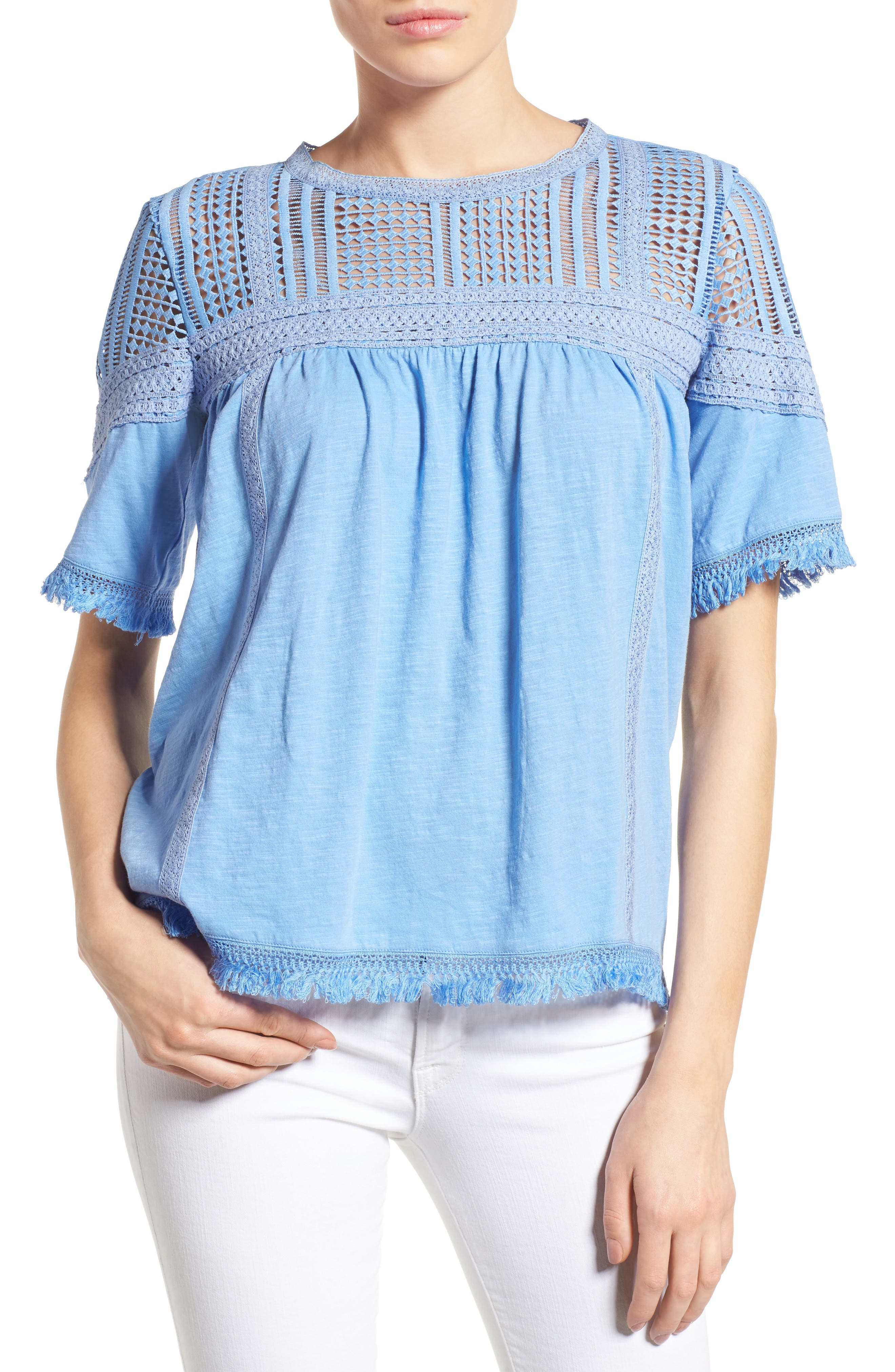 Main Image - Caslon® Fringed Lace & Knit Tee (Regular & Petite)