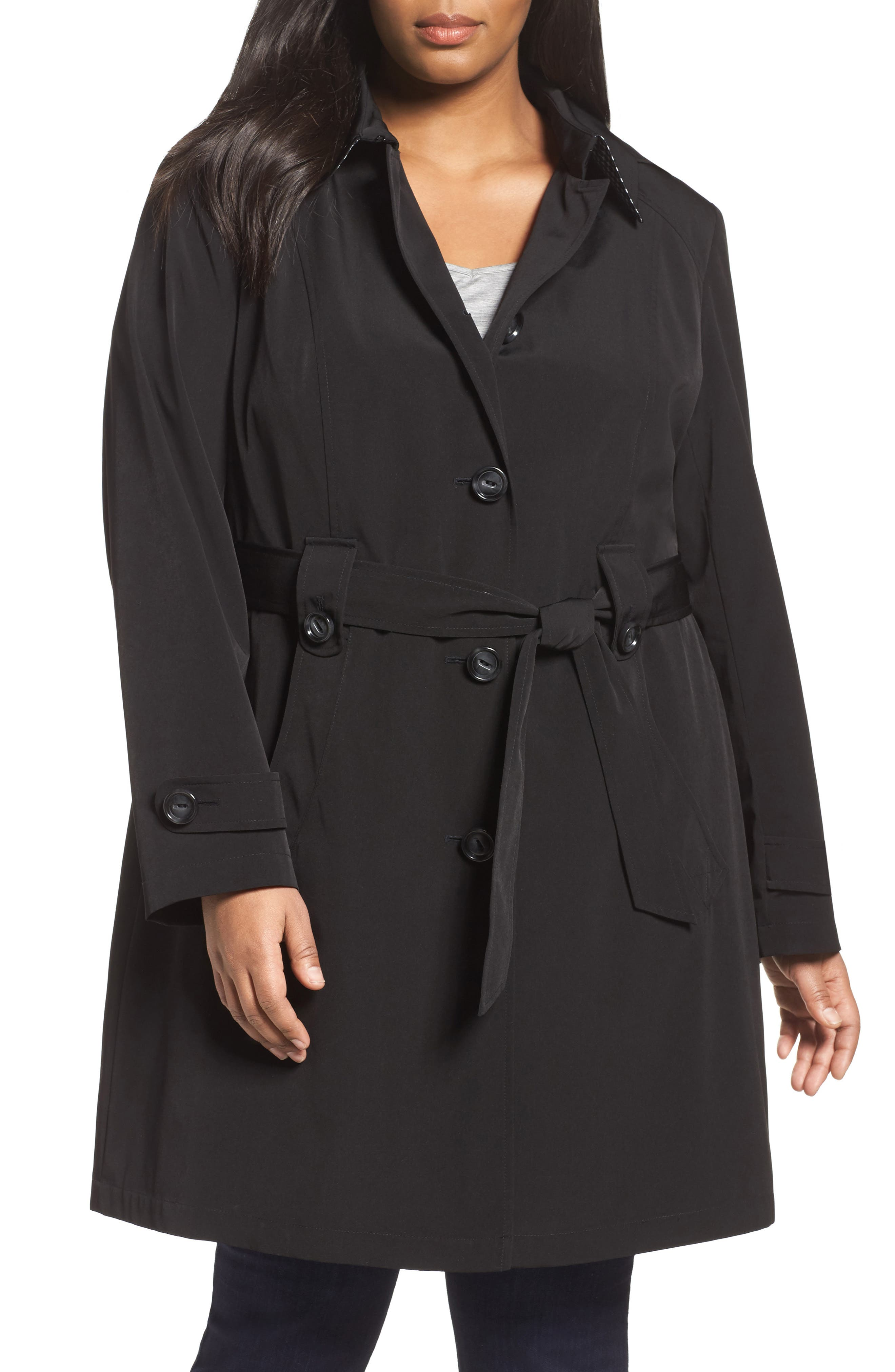 Gallery Silk Look Belted Trench Coat (Plus Size)