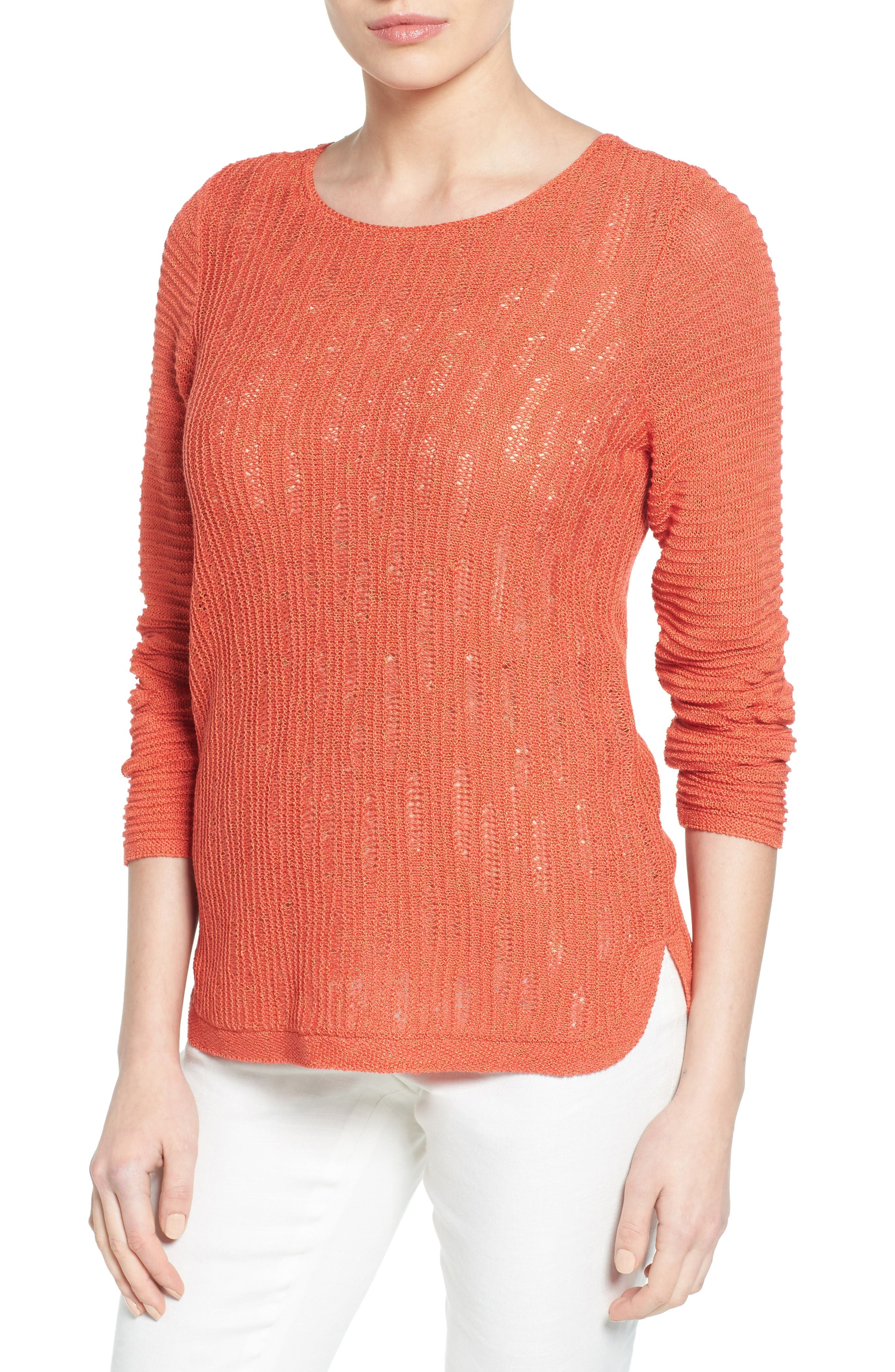 NIC+ZOE Sheer Dusk Cotton Blend Layering Sweater (Regular & Petite)