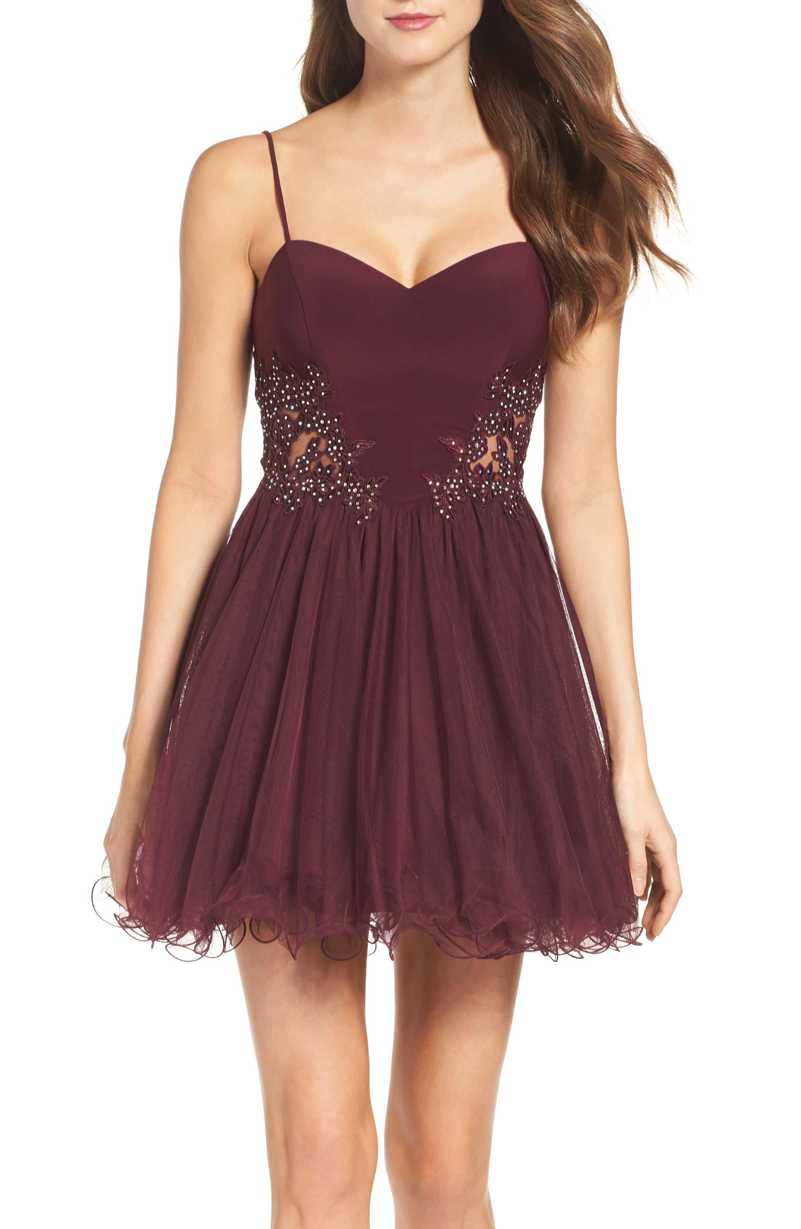 Main Image - Blondie Nites Embellished Fit & Flare Dress