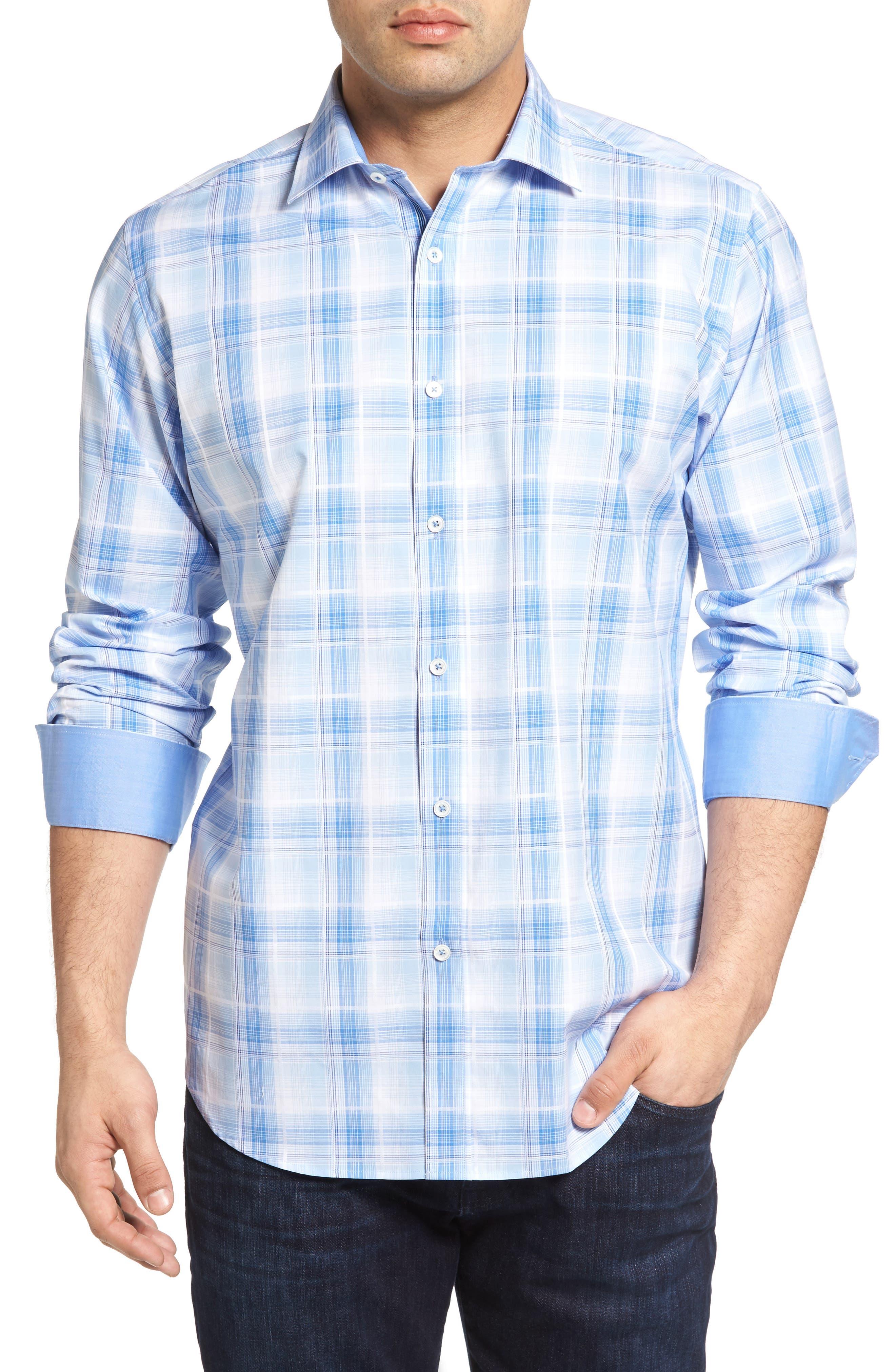 BUGATCHI Classic Fit Gradient Check Sport Shirt