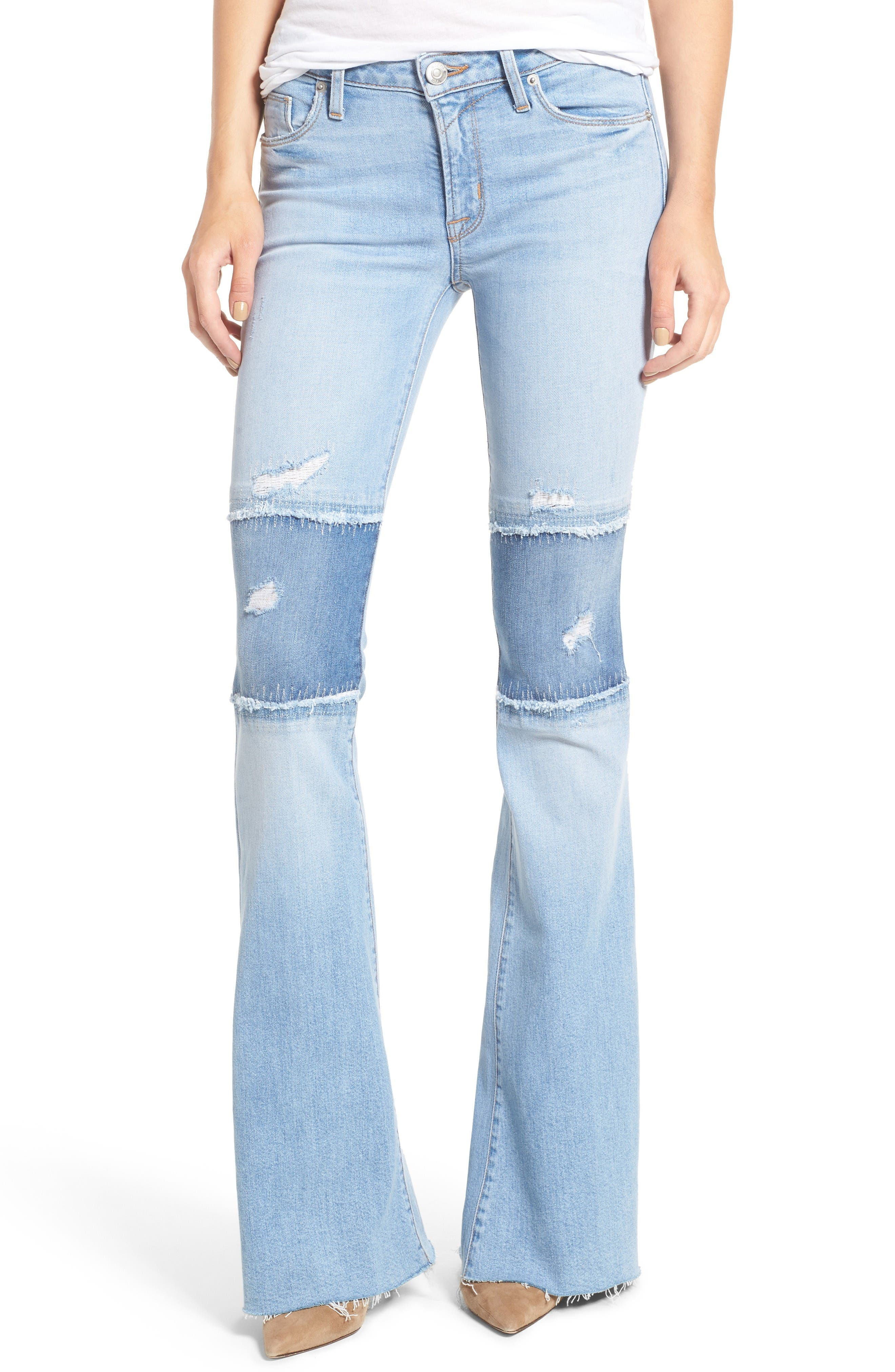 Main Image - Hudson Jeans Mia Patchwork Flare Jeans (Royal Delta)