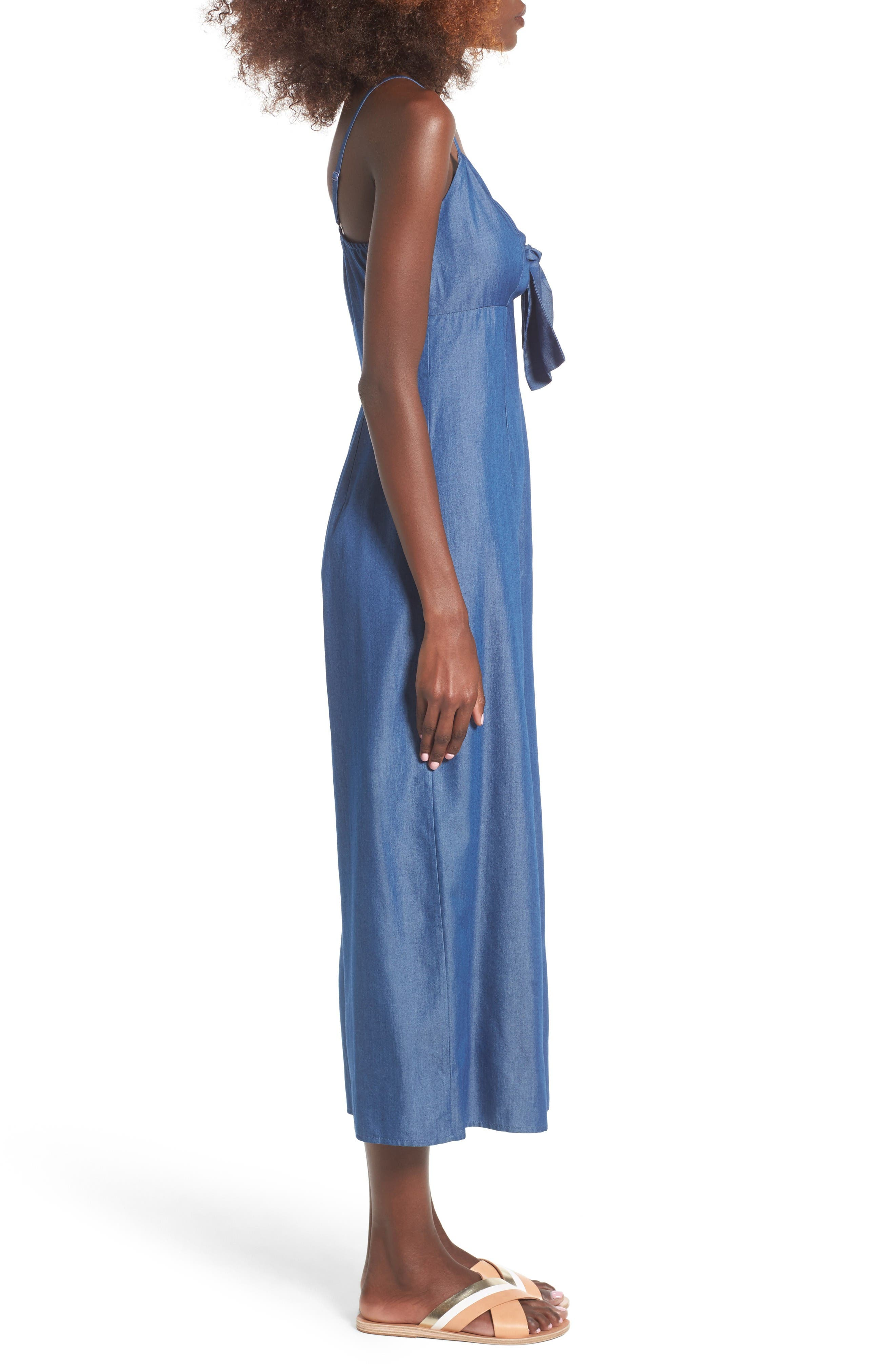 Alternate Image 3  - Soprano Tie Front Chambray Jumpsuit