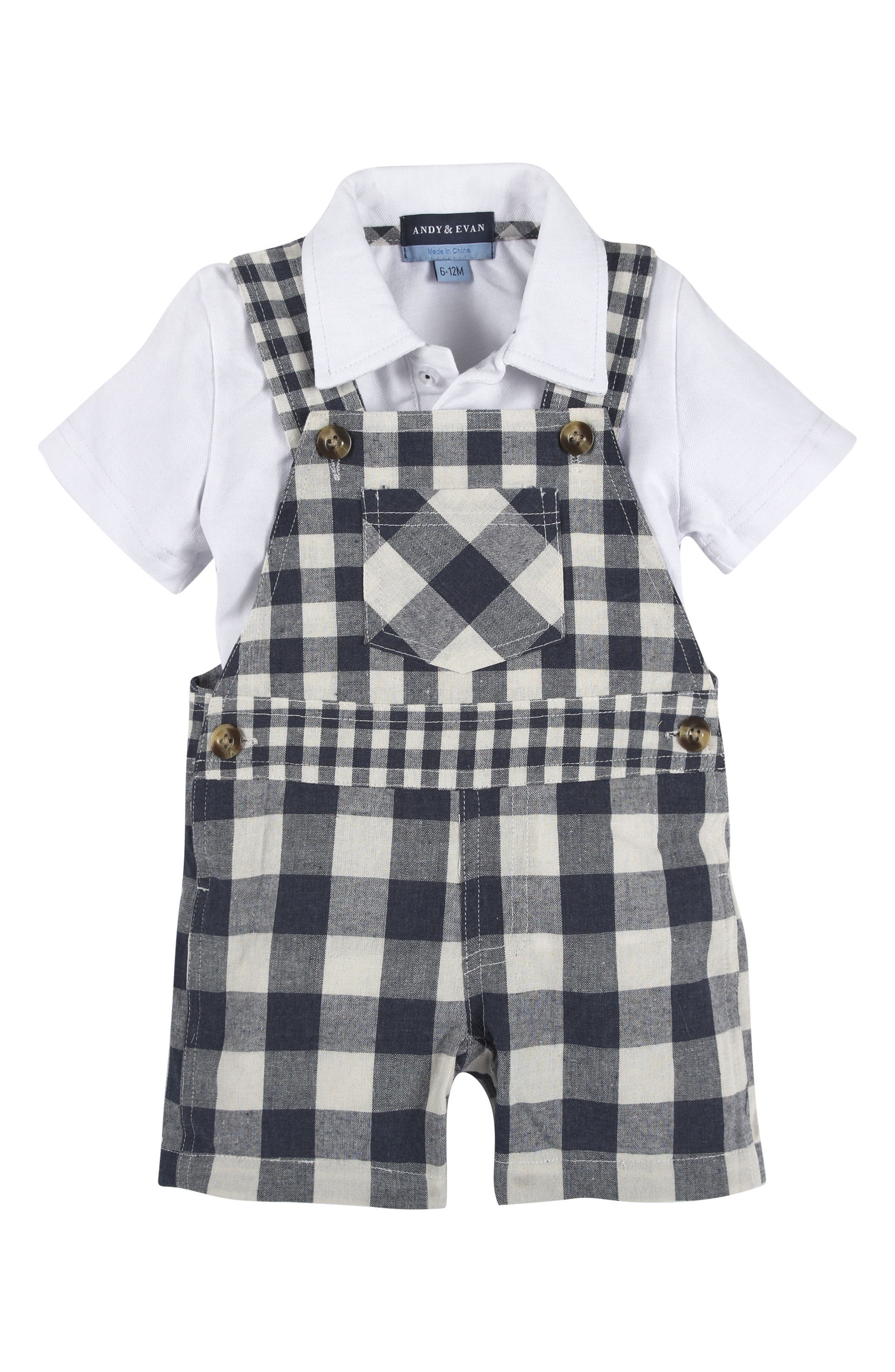 ANDY & EVAN Polo Shirt & Gingham Overalls