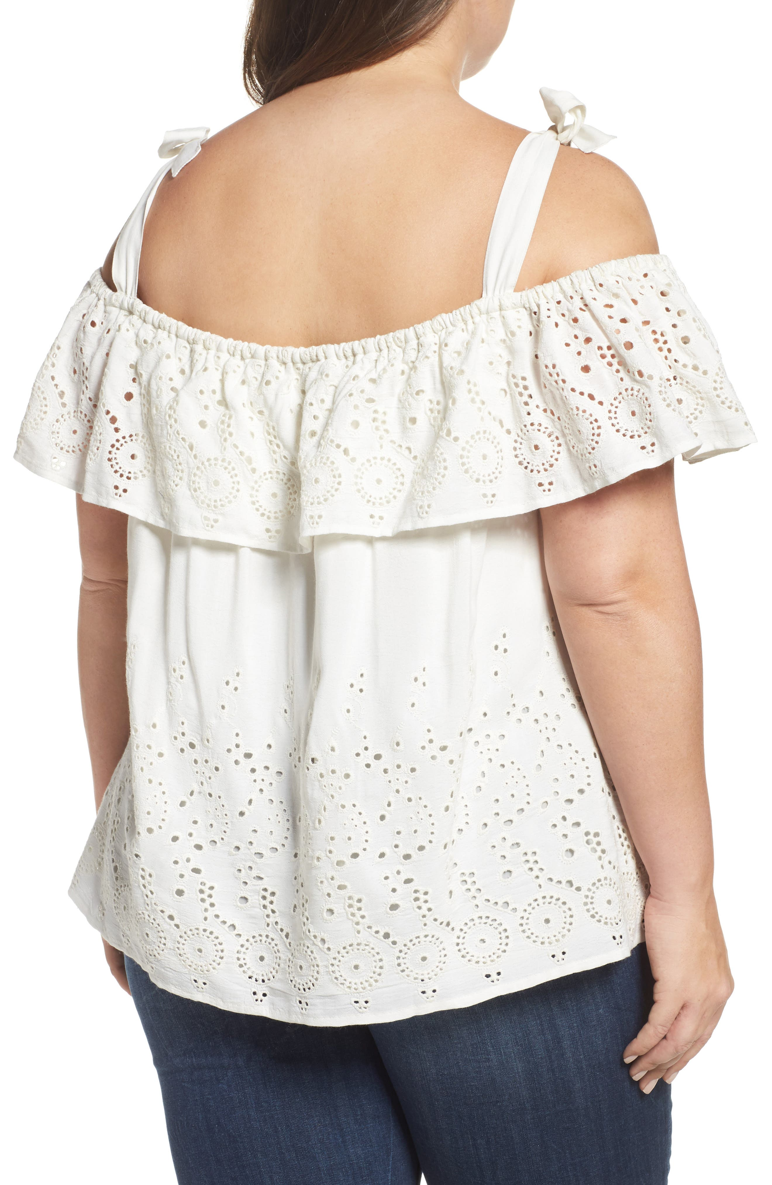 Alternate Image 2  - Lucky Brand Eyelet Embroidered Off the Shoulder Top (Plus Size)