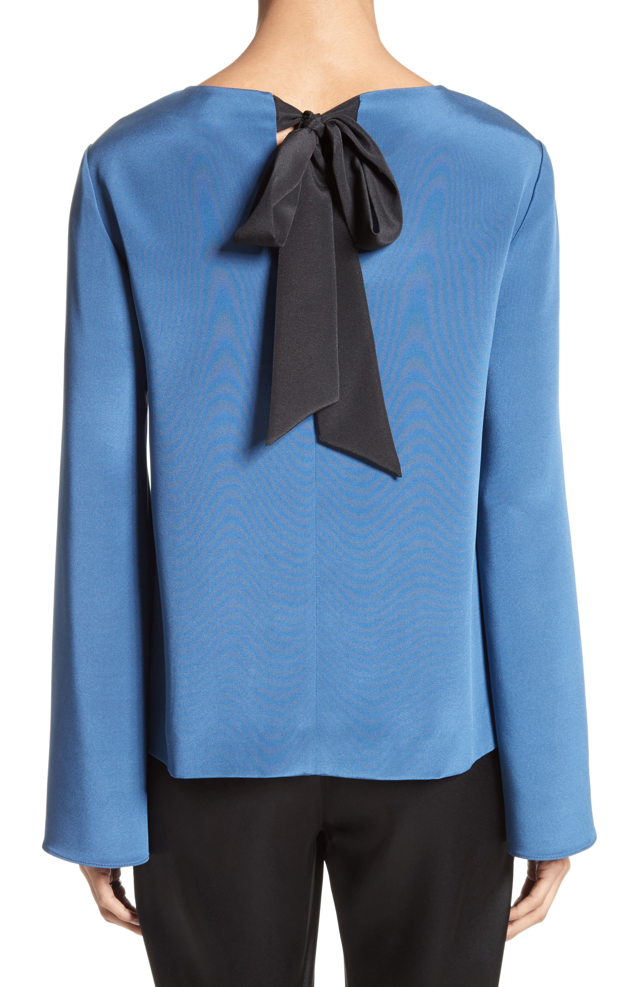 St. John Collection Back Bow Stretch Silk Blouse