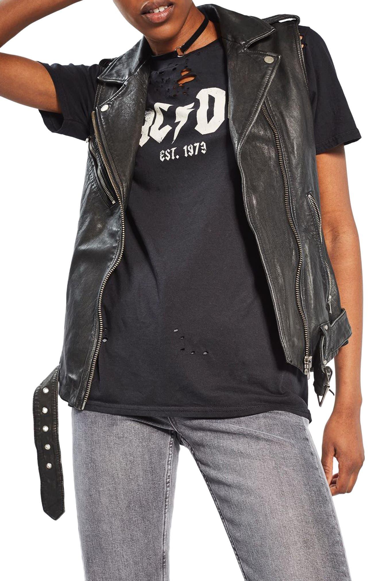 TOPSHOP Leather Moto Vest