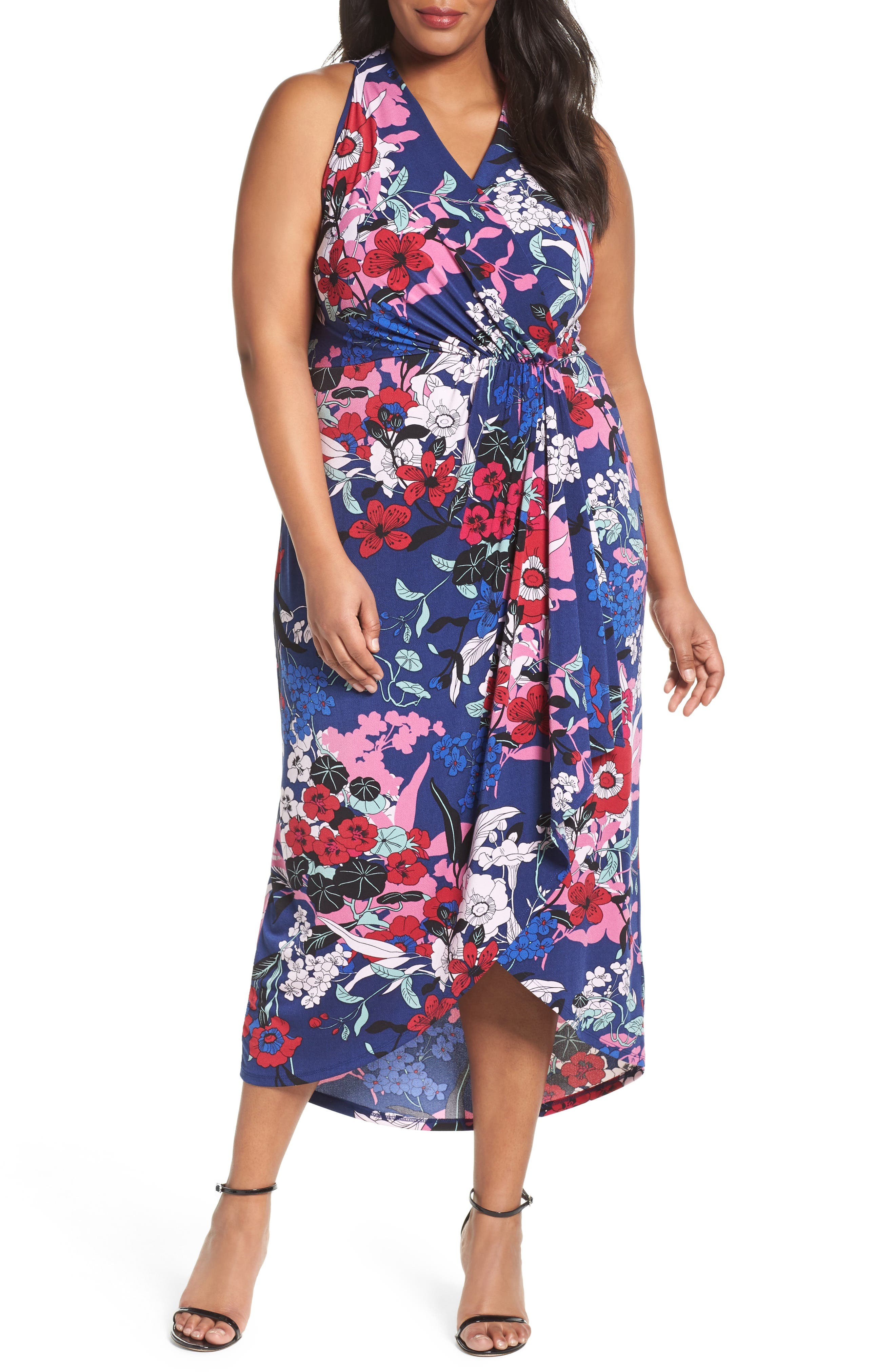 Adrianna Papell Floral Faux Wrap Maxi Dress (Plus Size)