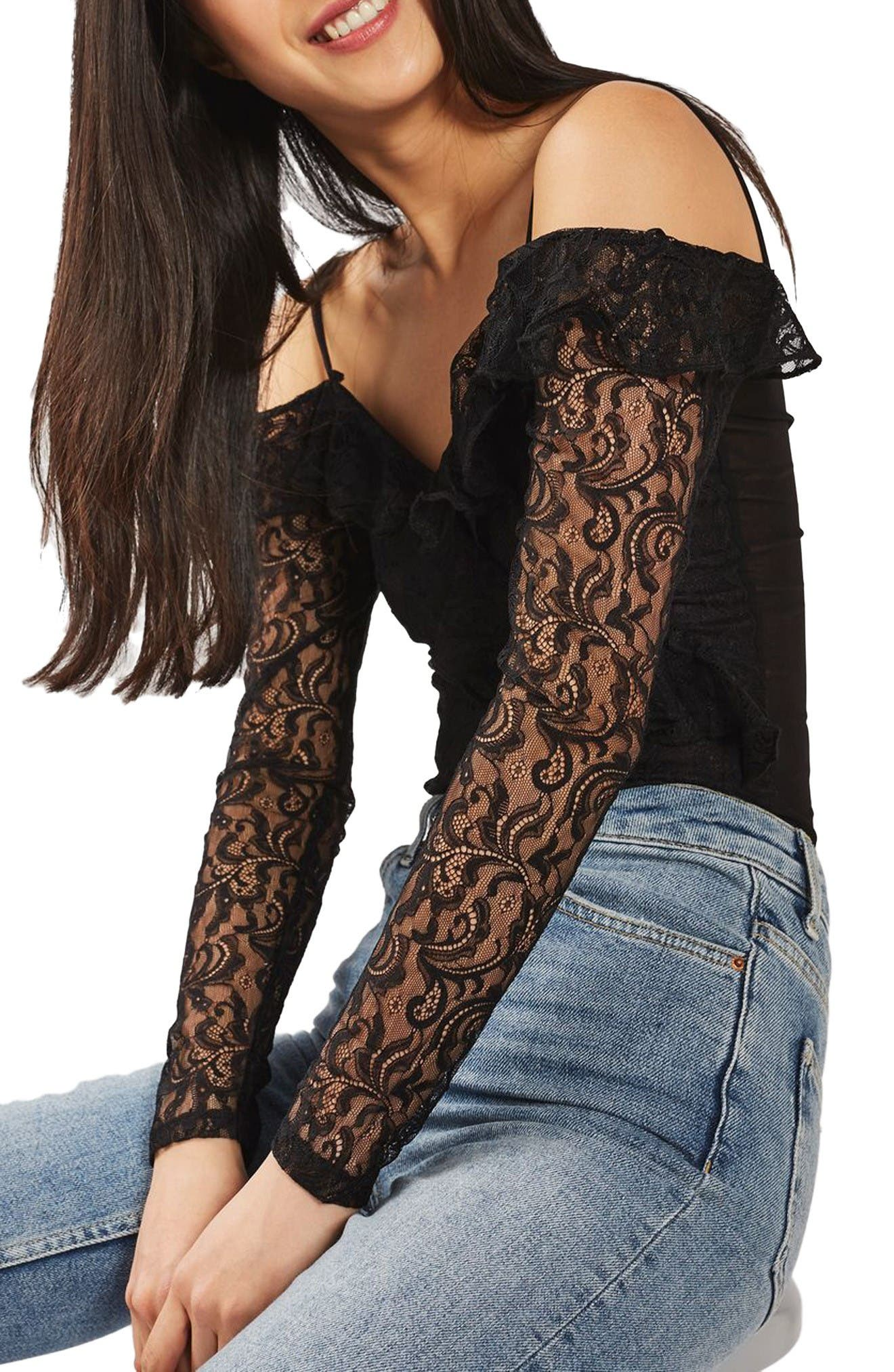 Main Image - Topshop Lace Off the Shoulder Bodysuit