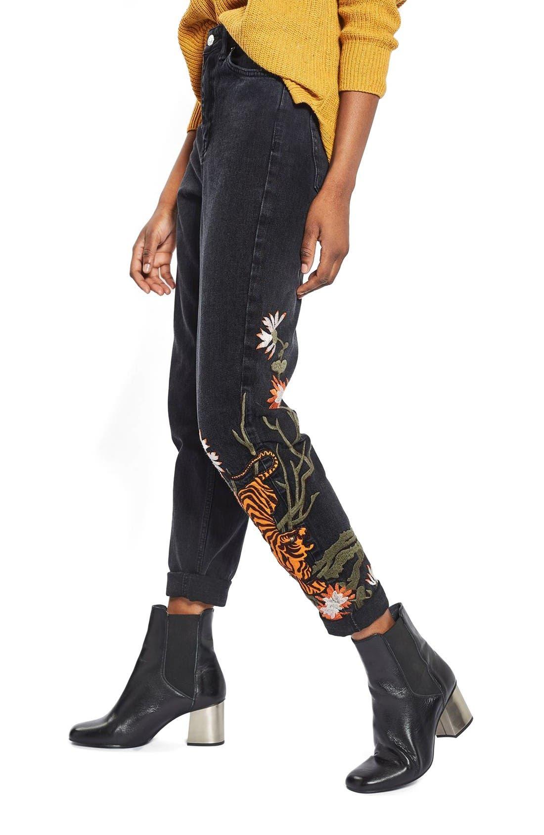 Alternate Image 1 Selected - Topshop Tiger Embroidered Mom Jeans