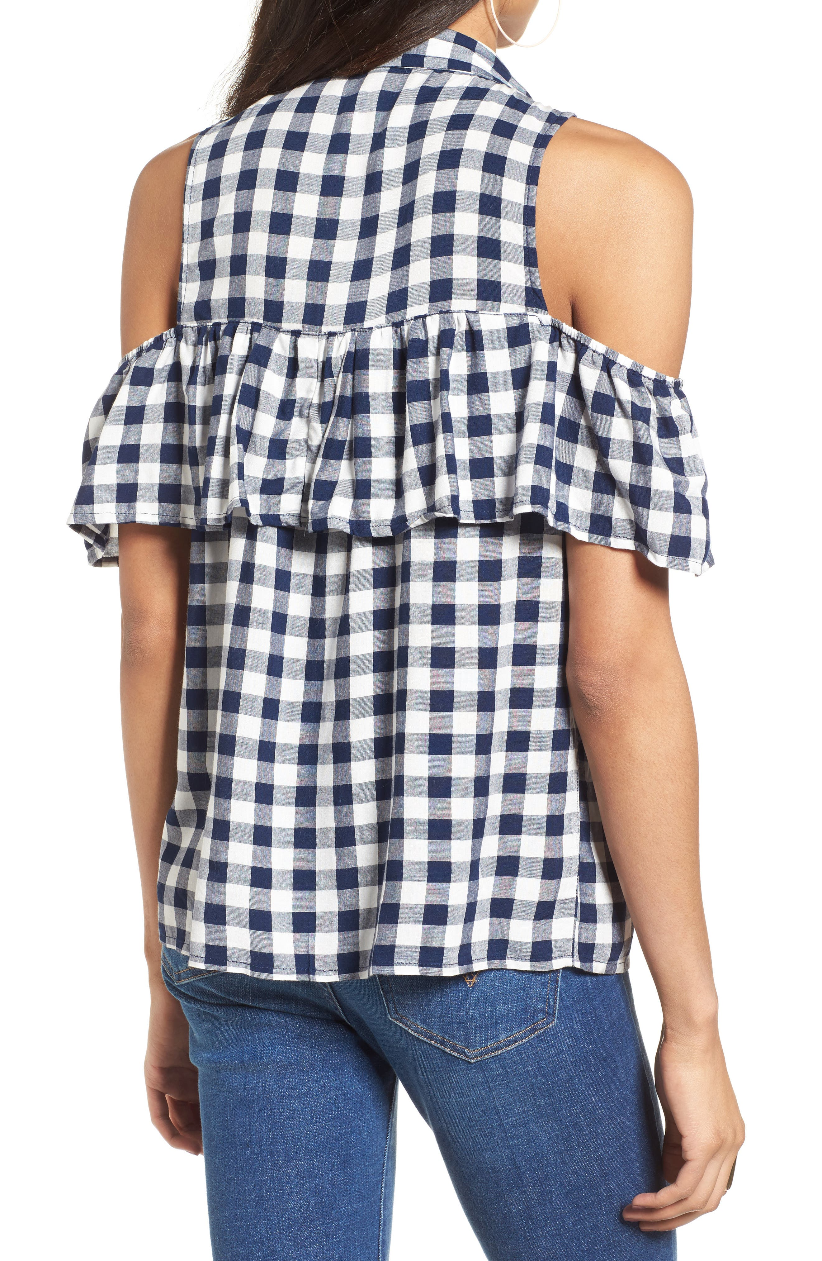 Alternate Image 2  - Love, Fire Gingham Cold Shoulder Top