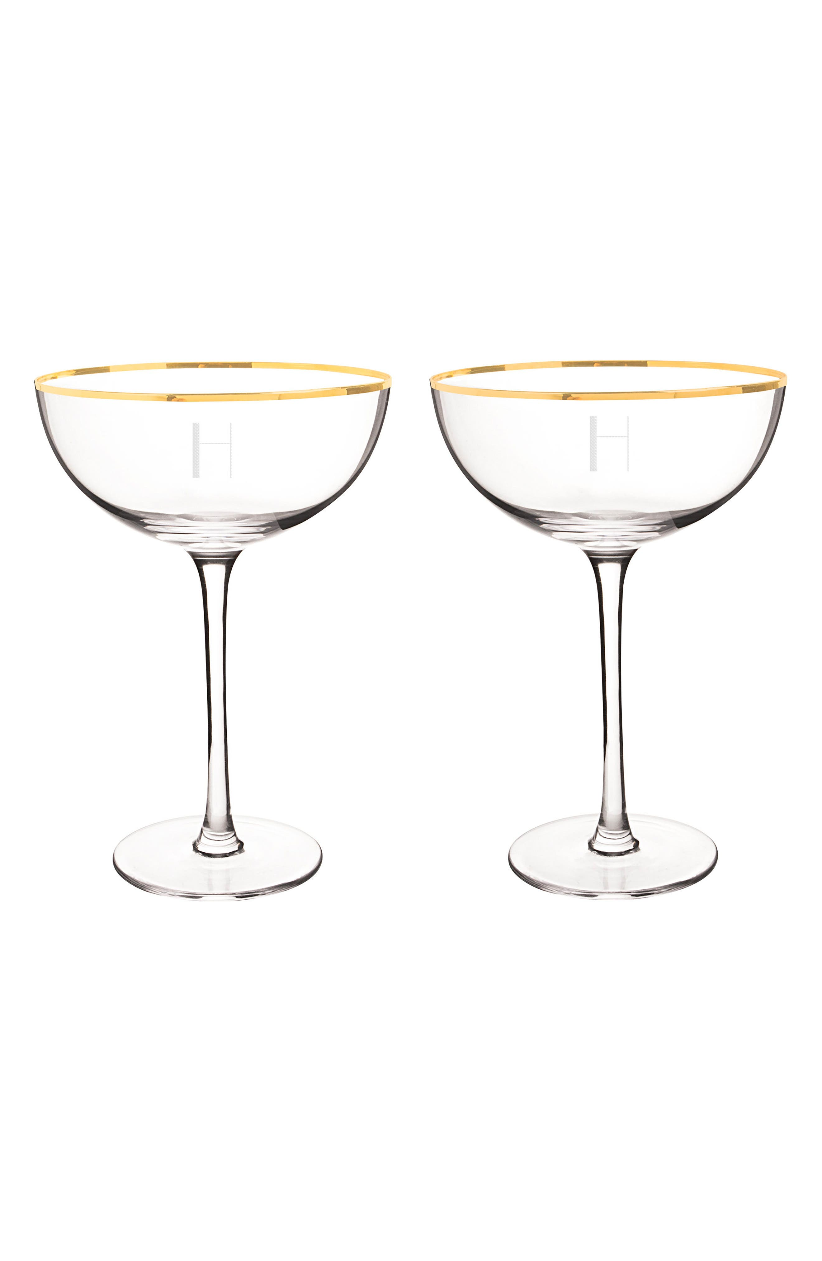 Cathy's Concepts Set of 2 Gold Rim Monogram Champagne Flutes