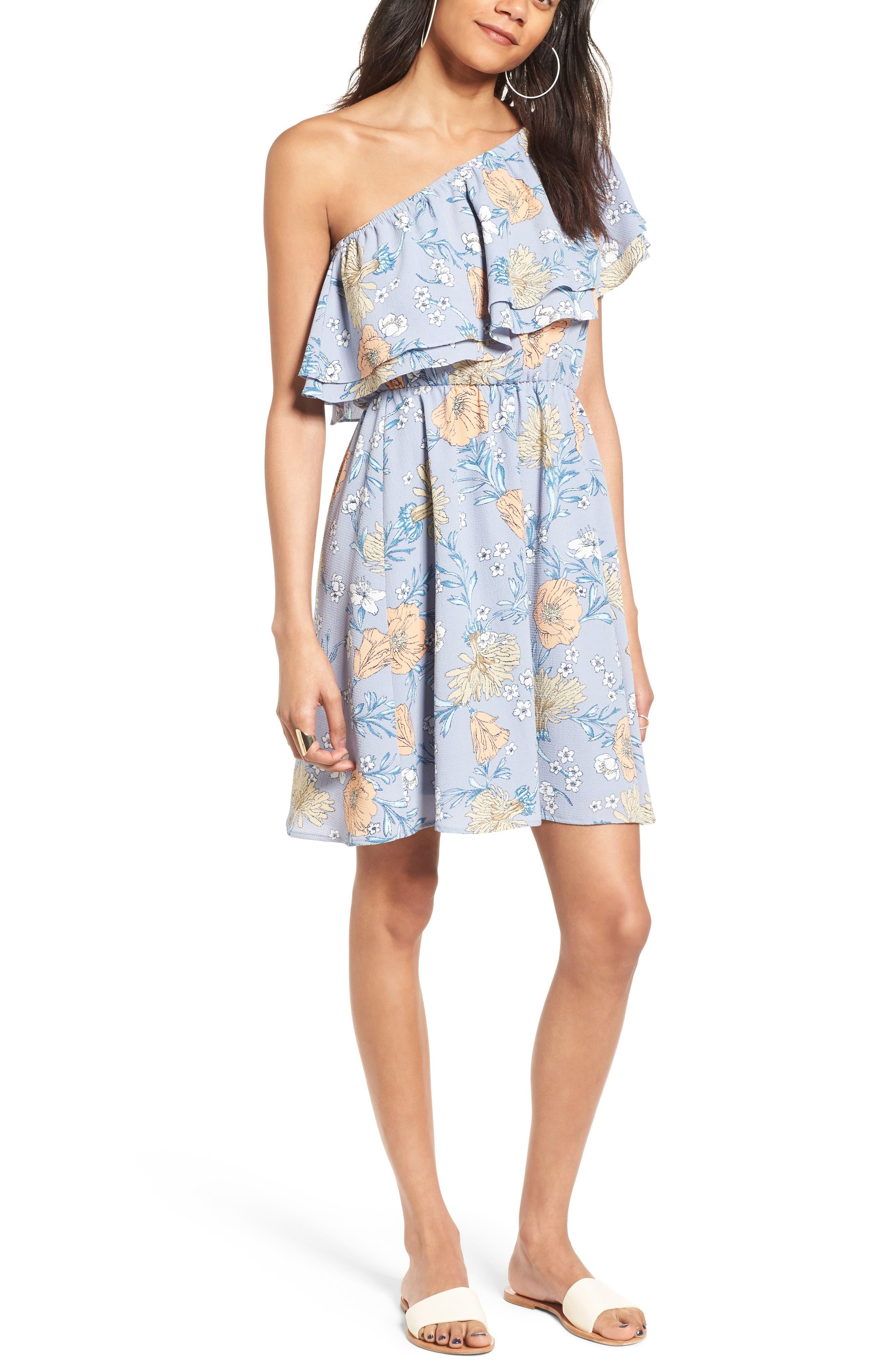 Main Image - Lush Ruffle One-Shoulder Dress