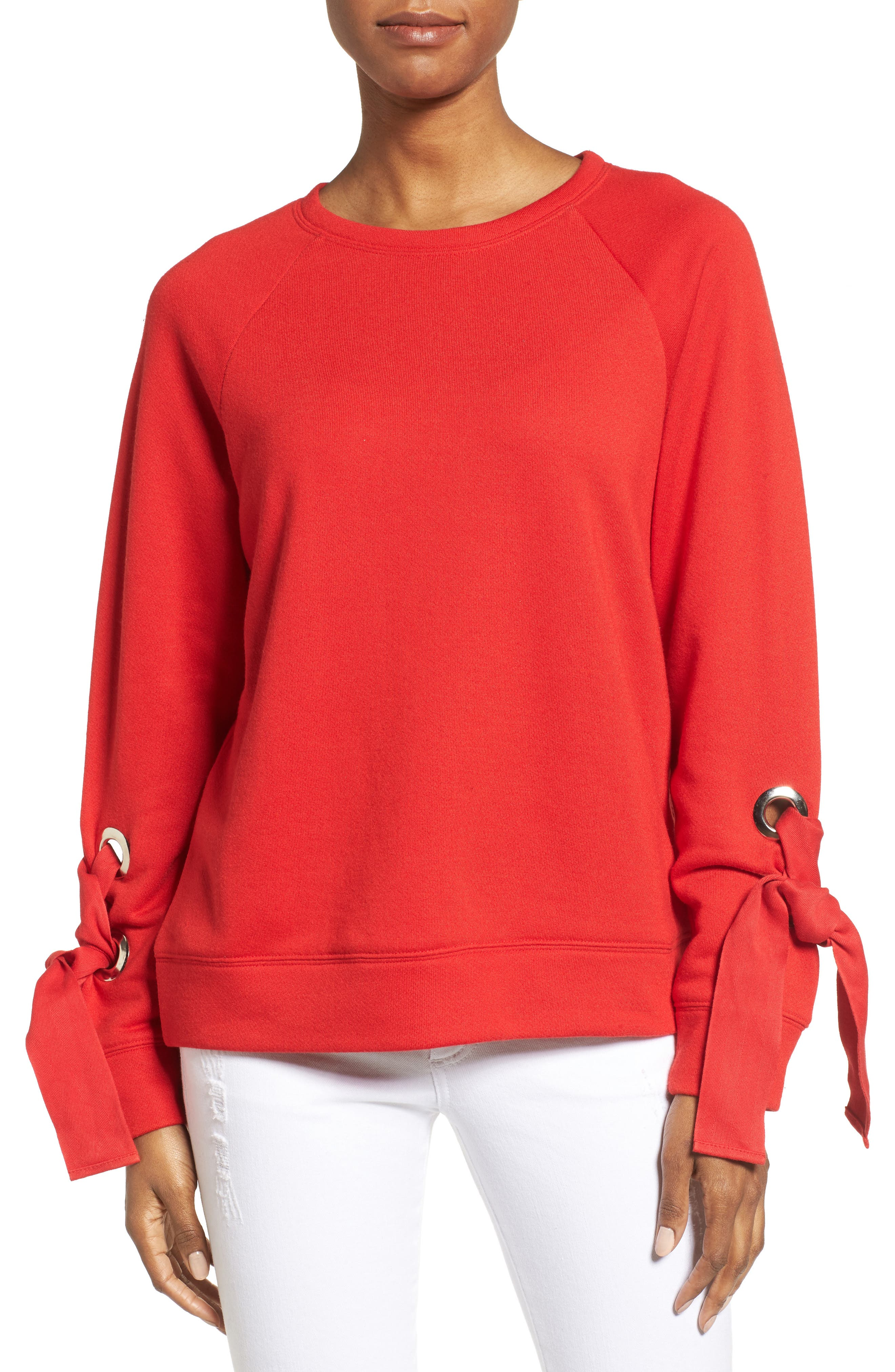 Halogen® Tie Sleeve Sweatshirt (Regular & Petite)