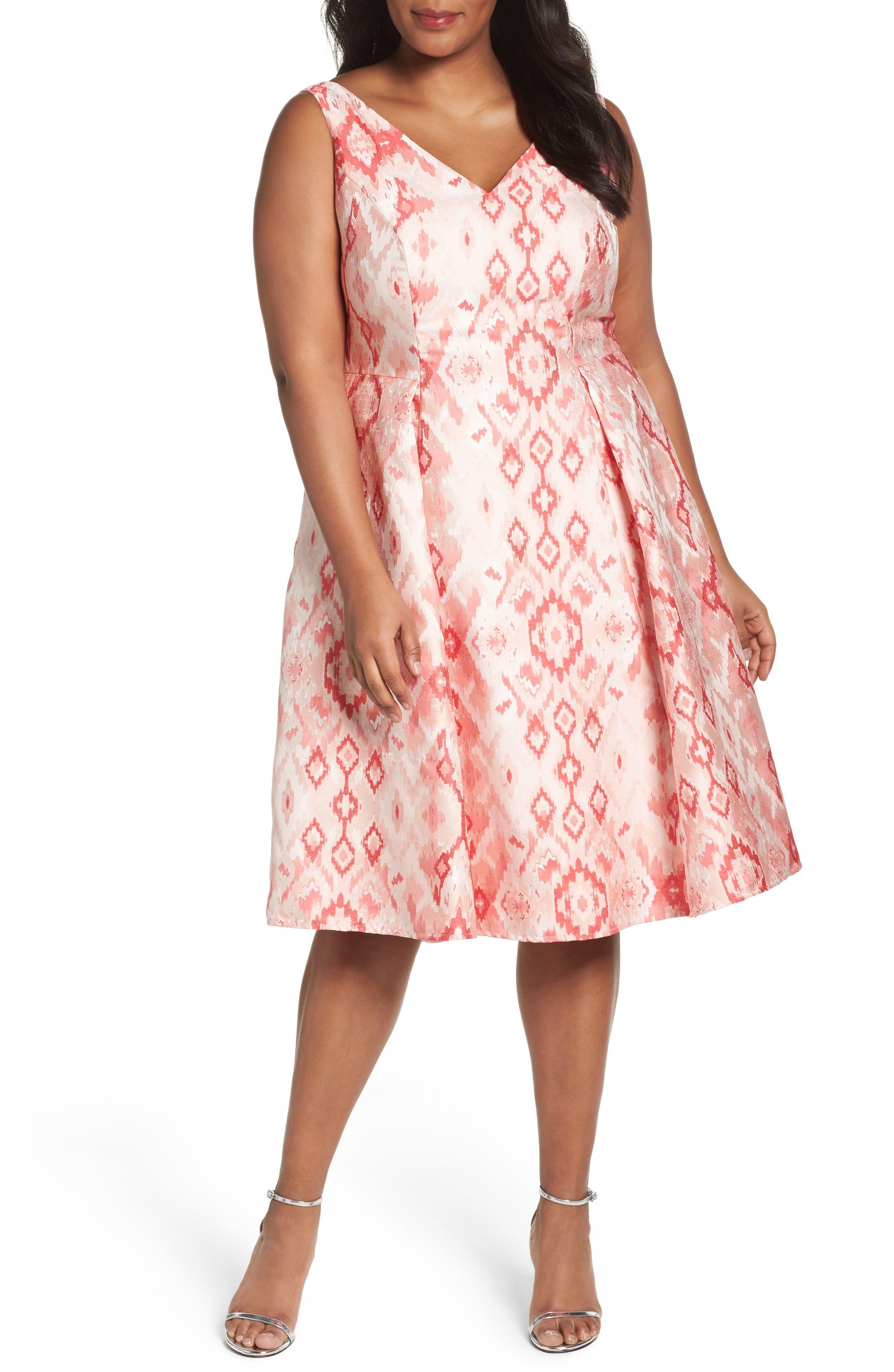 Adrianna Papell Aztec Jacquard Tea Length Dress (Plus Size)