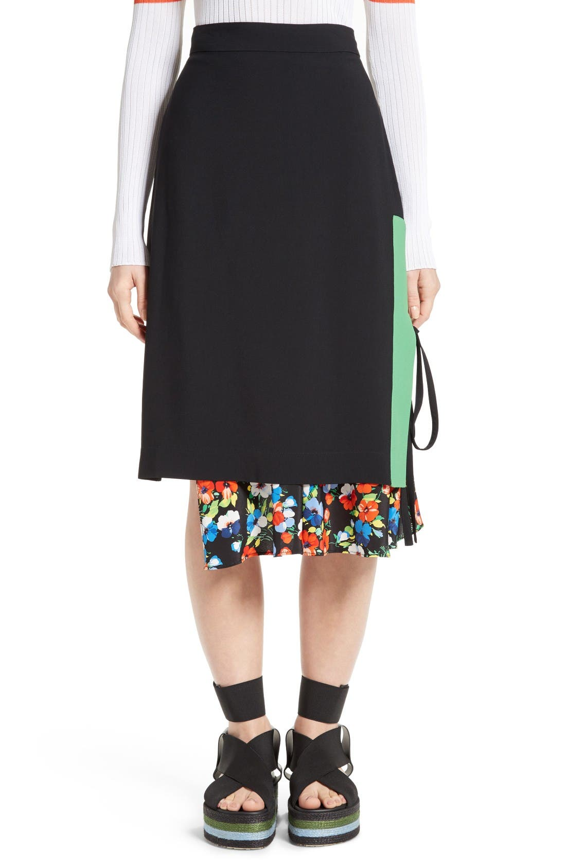 MSGM Floral Underlay Skirt