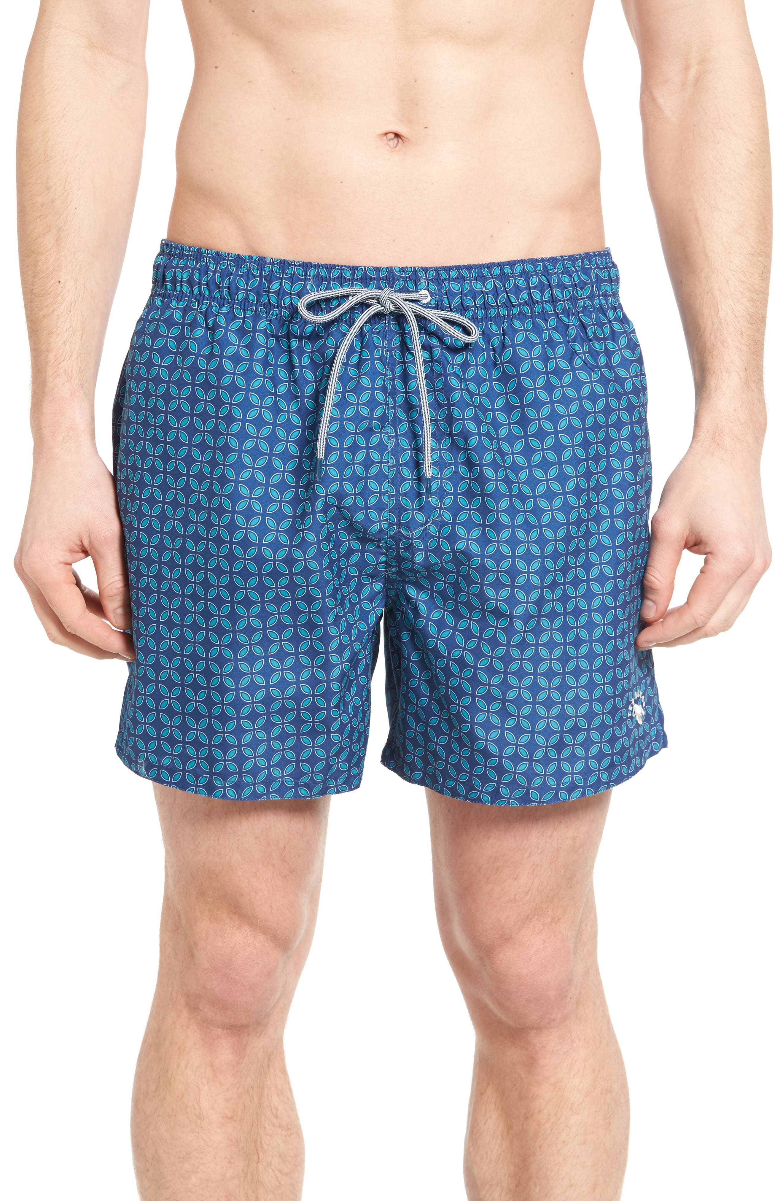 Ted Baker London Oobud Geo Print Swim Trunks