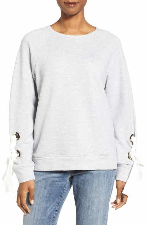 Halogen® Tie Sleeve Sweatshirt (Regular   Petite)