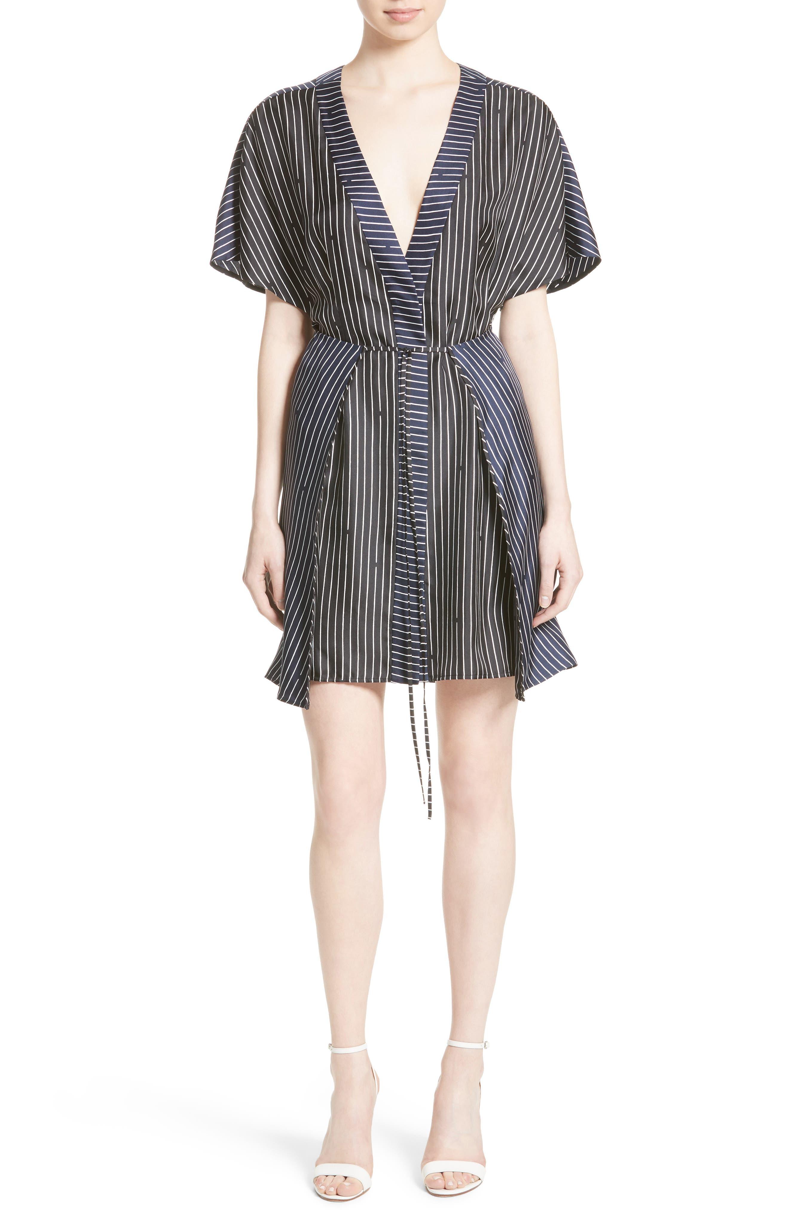 Diane von Furstenberg Print Silk Tie Front Dress