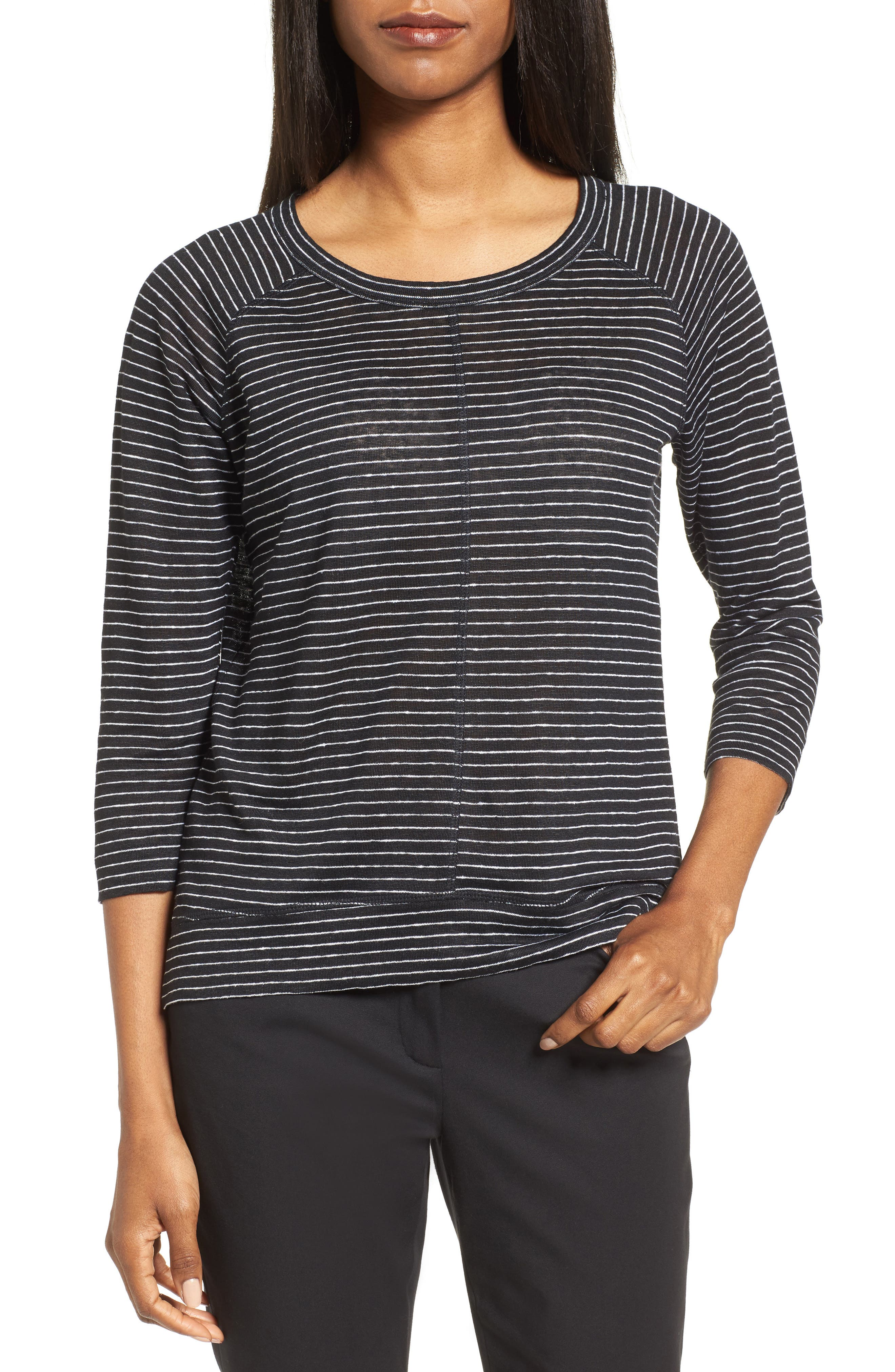 Nordstrom Collection Stripe Linen Knit Top