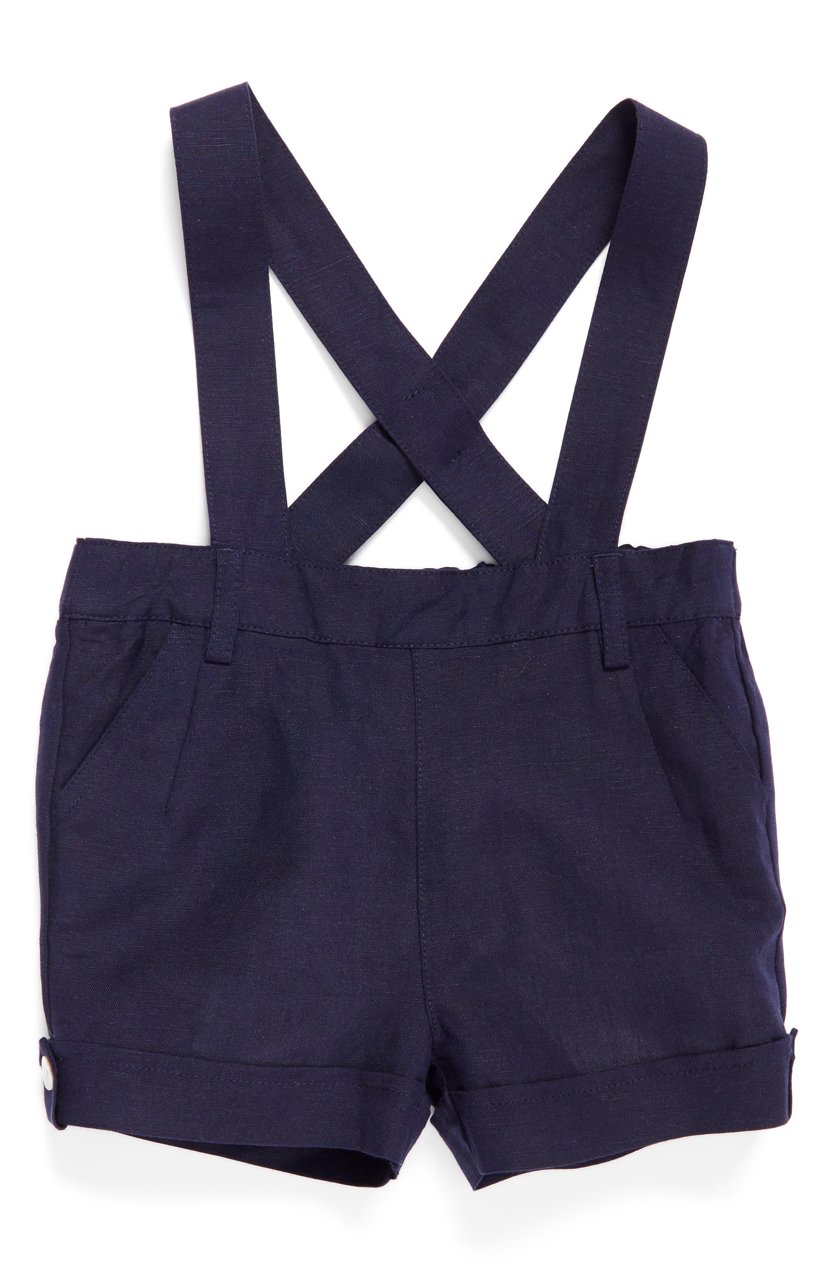 Main Image - Bardot Junior Linen Blend Short Overalls (Baby Boys & Toddler Boys)