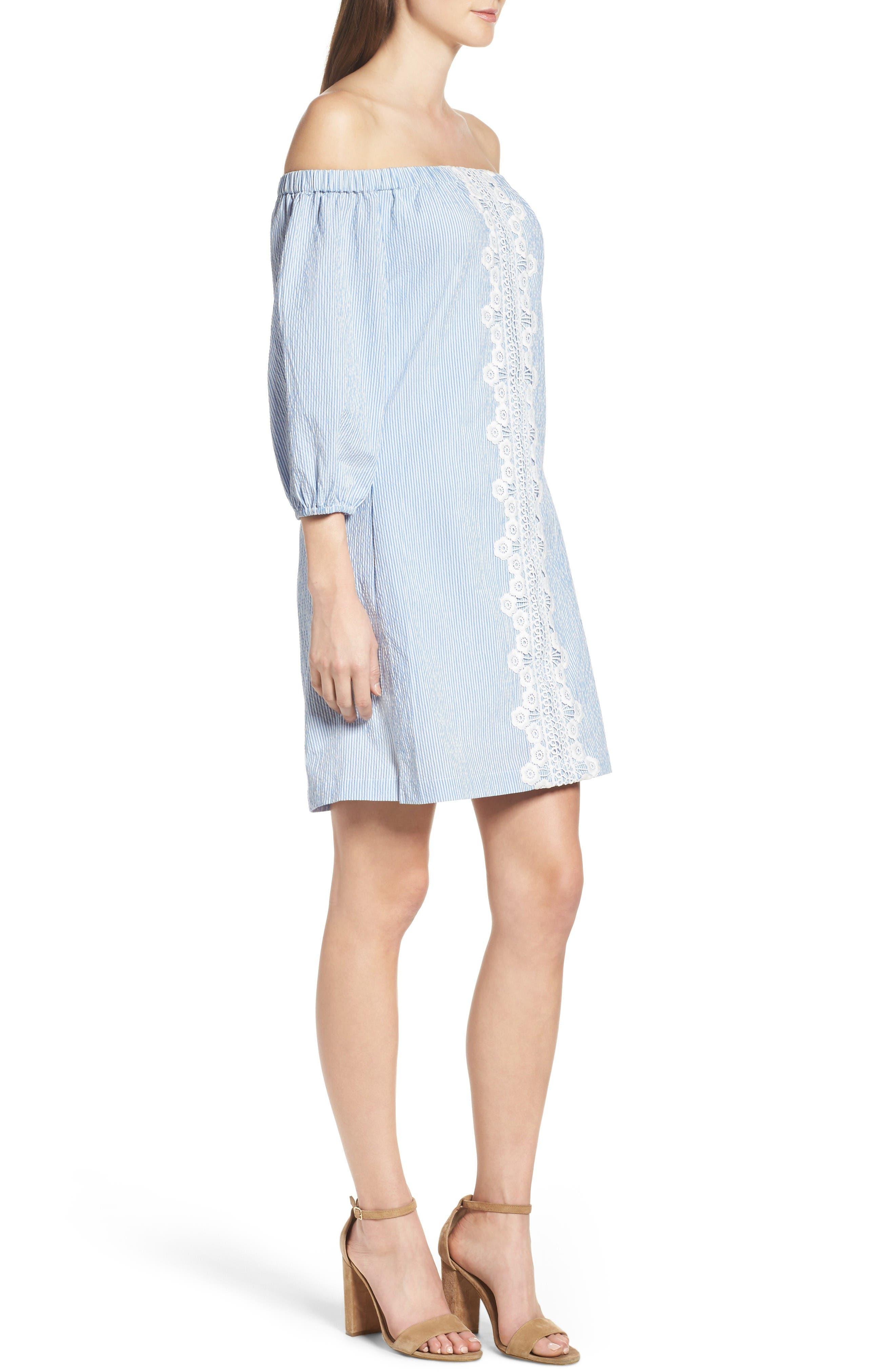 Alternate Image 4  - Eliza J Lace Trim Seersucker Off the Shoulder Dress (Regular & Petite)