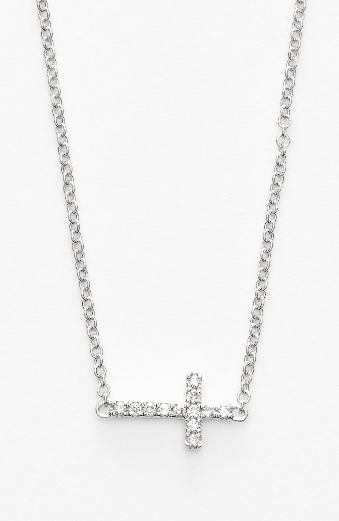 BONY LEVY Reversible Diamond Cross Pendant Necklace