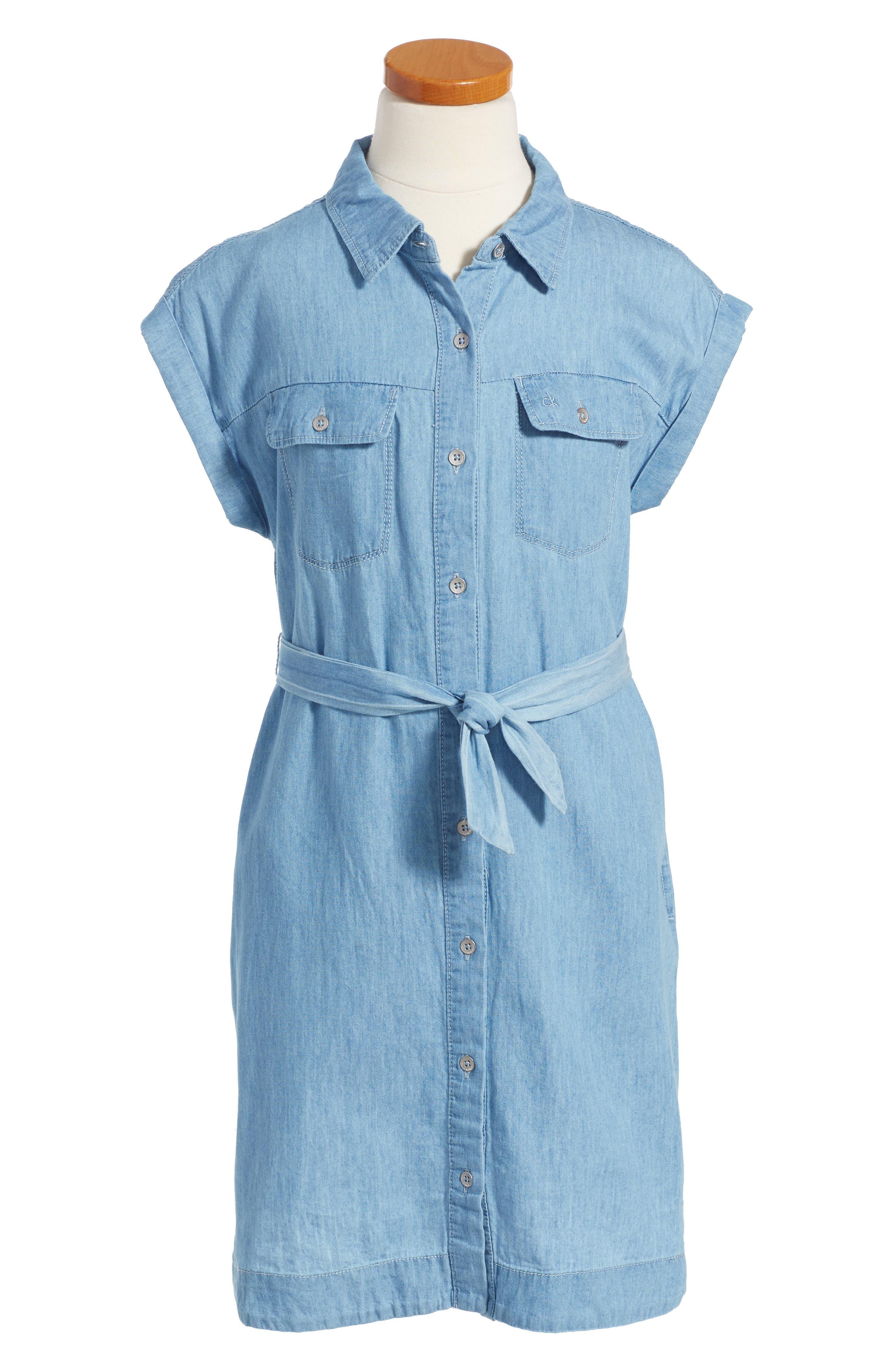CALVIN KLEIN Chambray Shirtdress